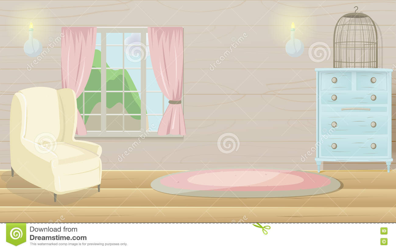 Living Room Vintage Cartoon Background Vector Stock Illustration ...