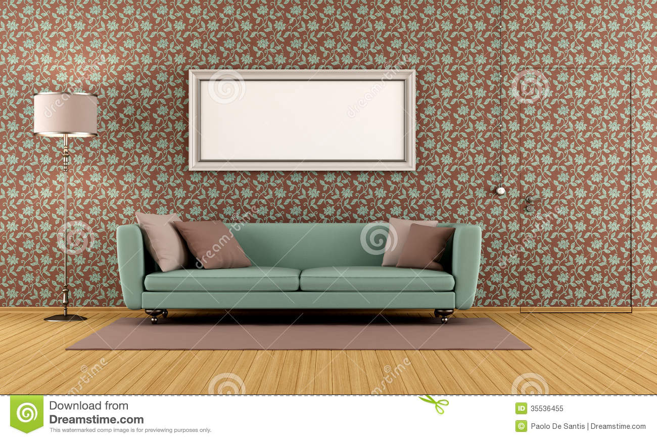 living room with vintage wallpaper royalty free stock photo