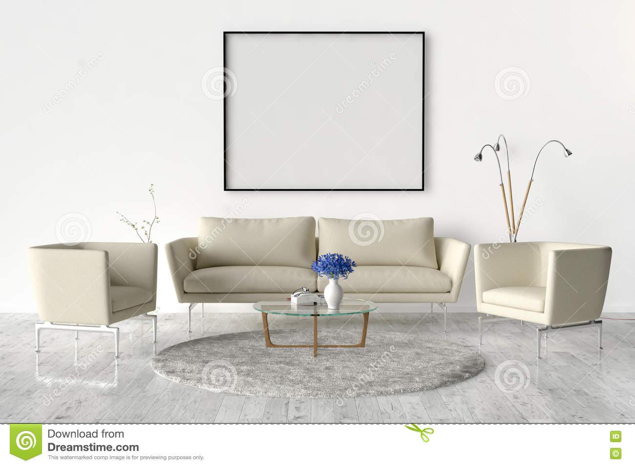 living room on the wall an empty picture frame stock illustration