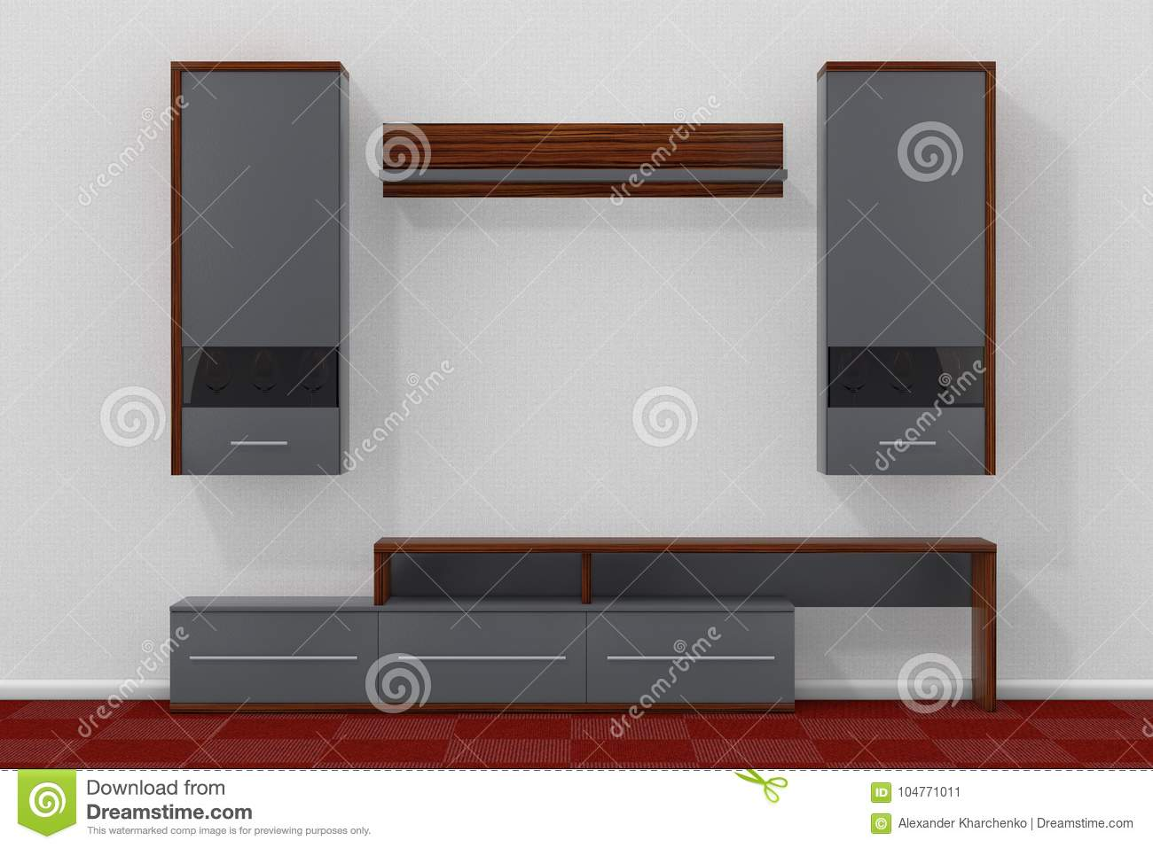 Download Living Room Wall Unit In Front Of White Wall. 3d Rendering Stock  Illustration