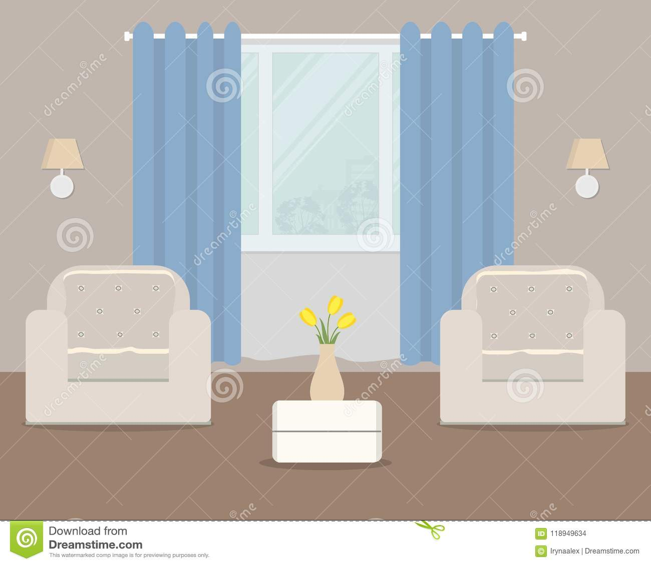Living Room With White Armchairs And Blue Curtain Stock