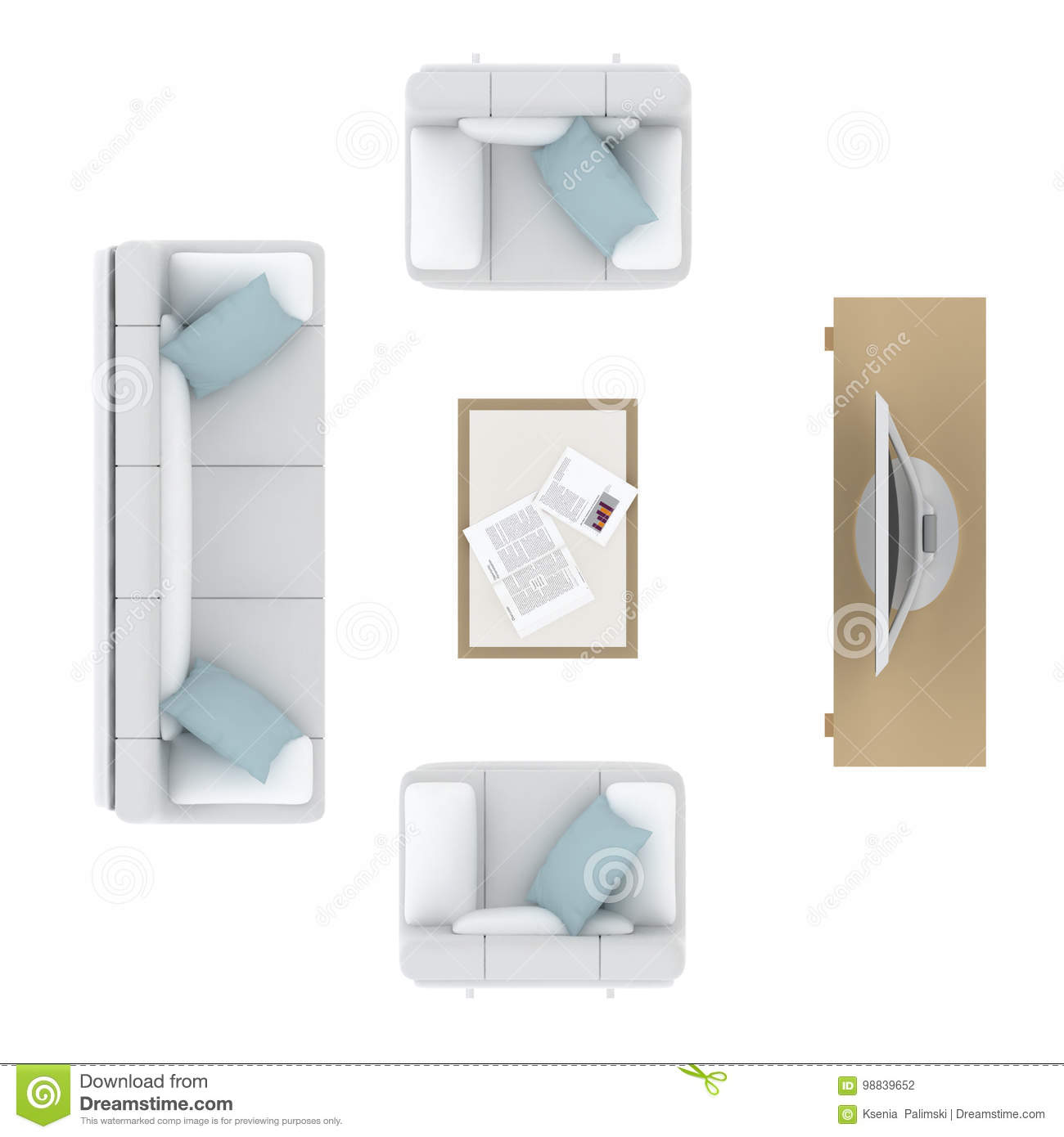 living room top view living room furniture top view icons isolated stock 14256