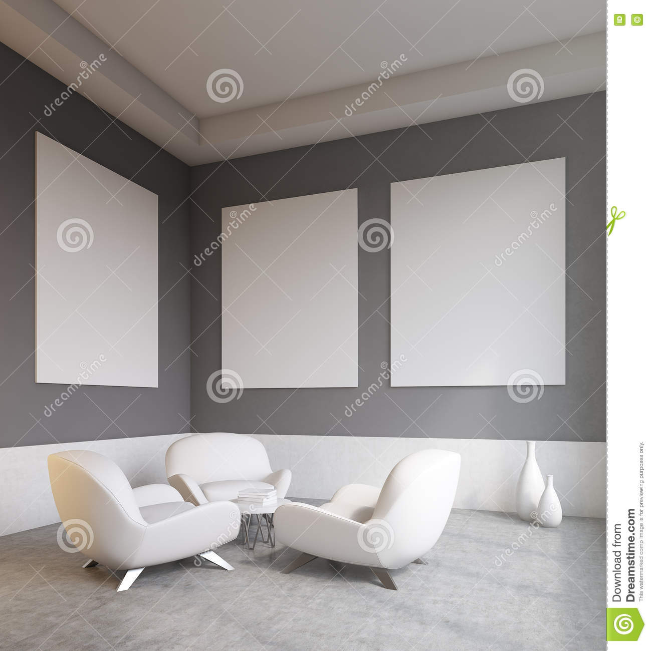 Living room with white sofas stock illustration image for Living office concept
