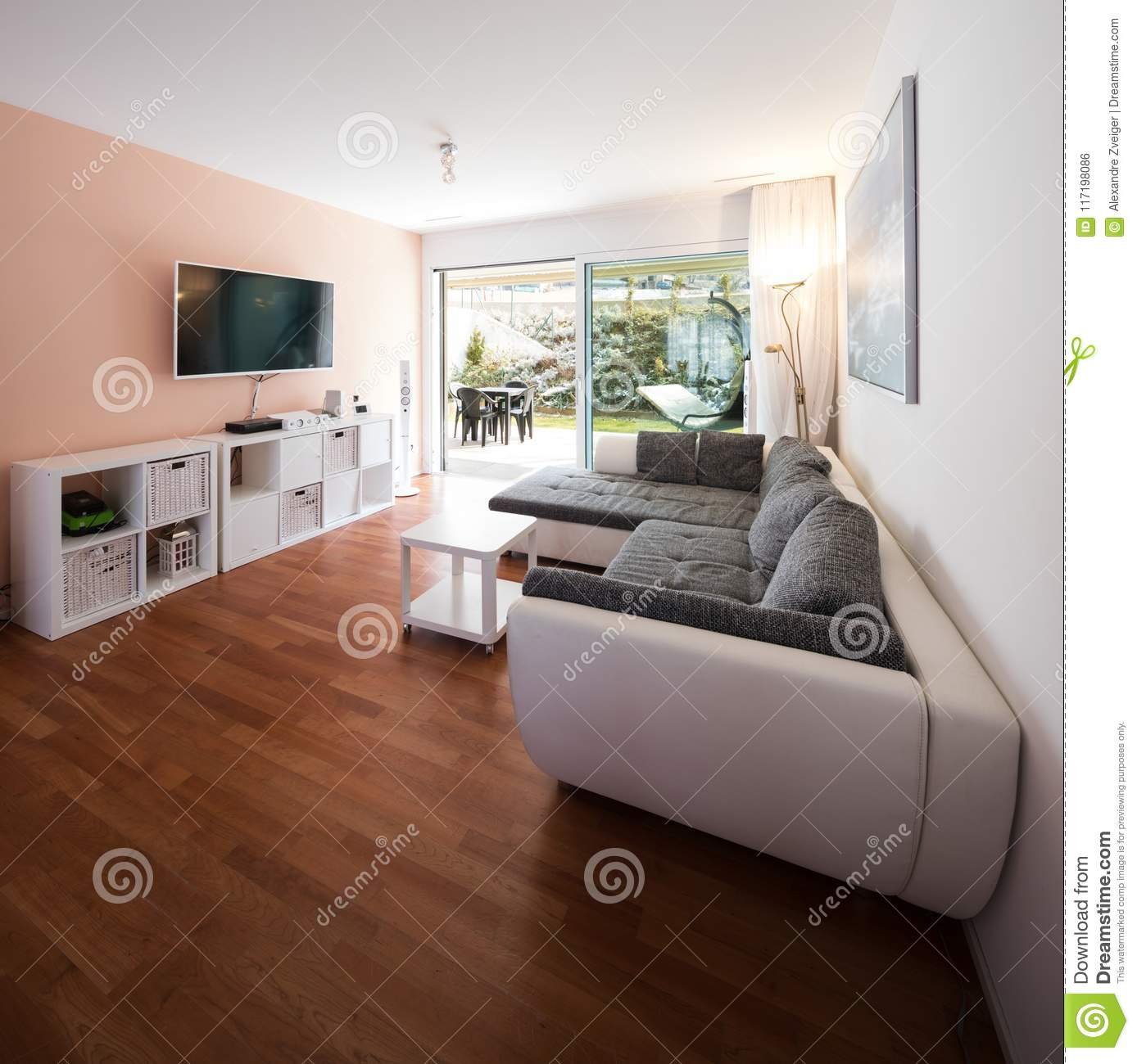 Living Room With Window And Garden View. Stock Photo - Image ...