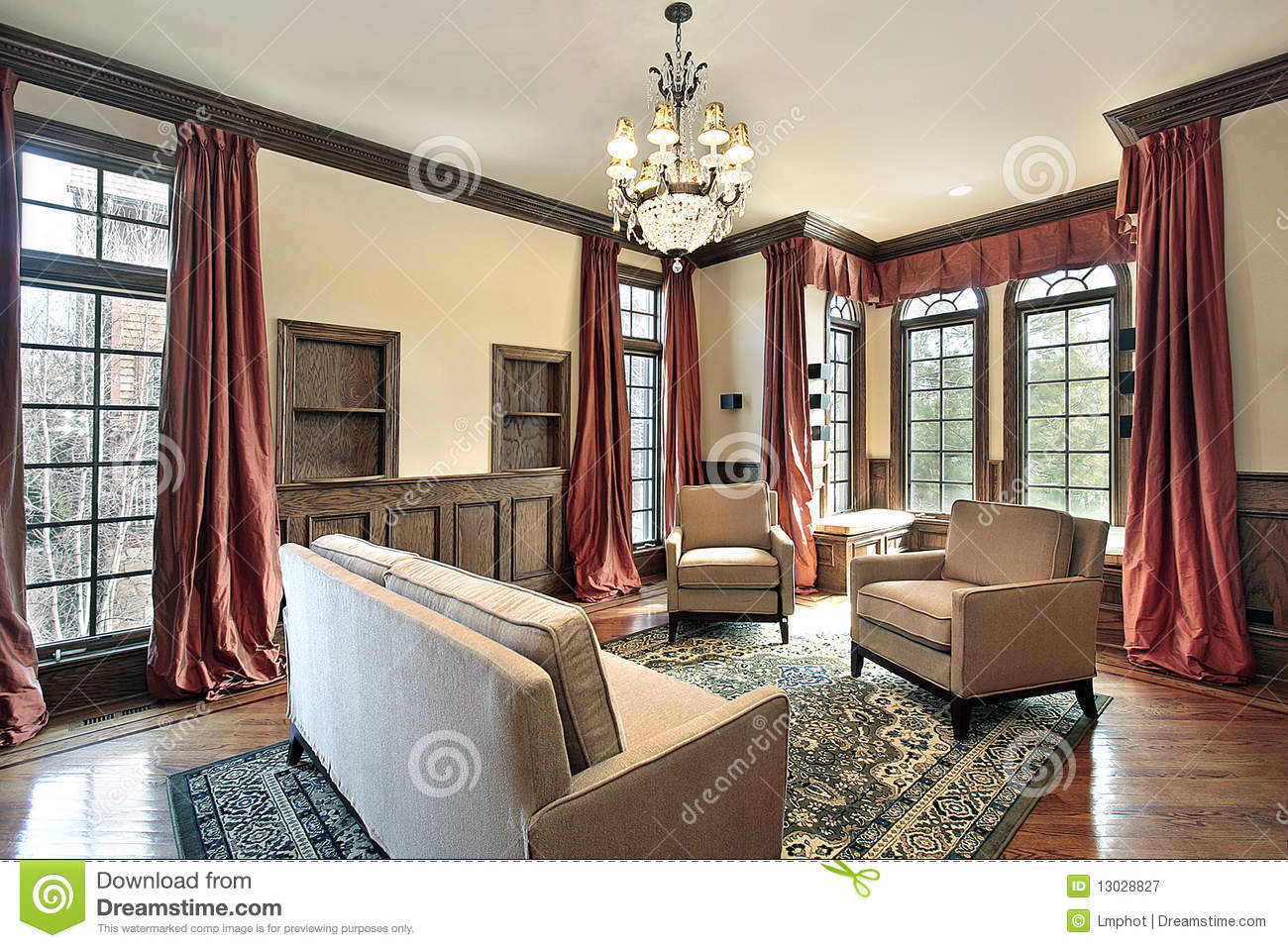 Living Room With Wood Trim Stock Image Image Of Estate