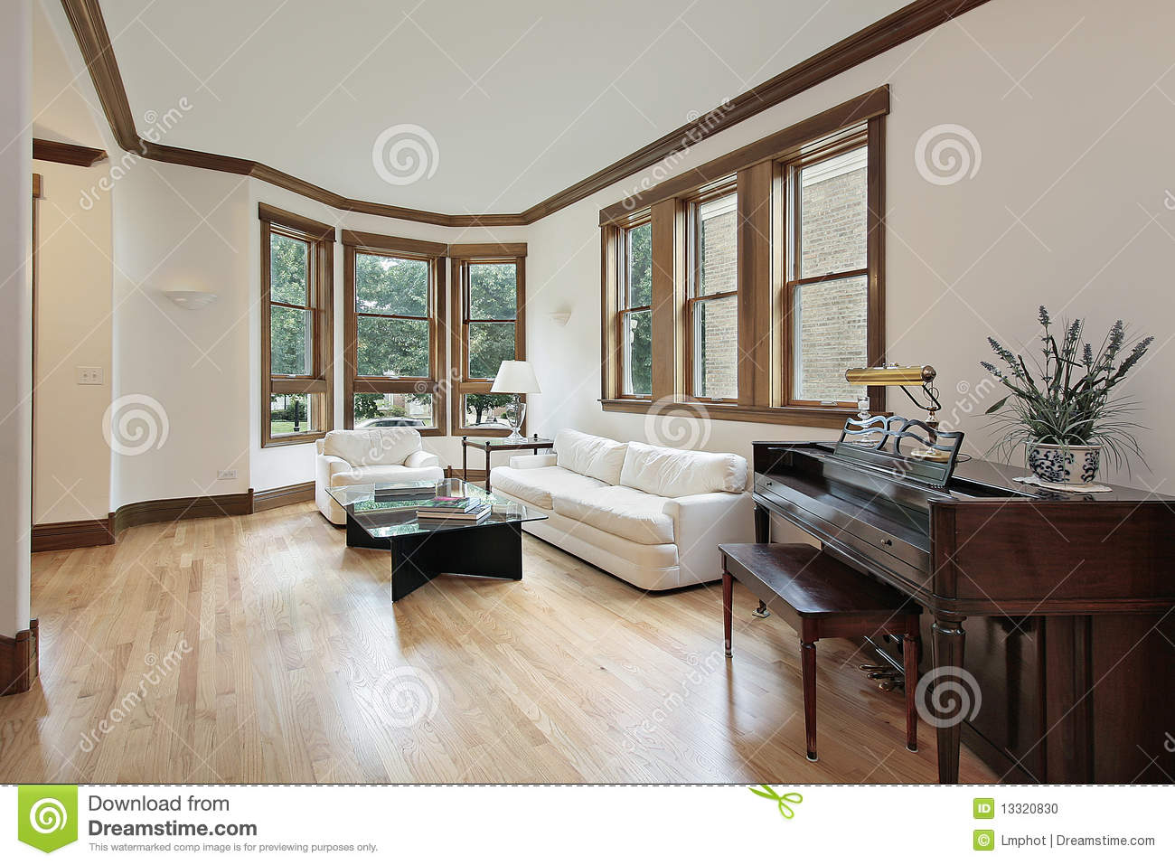 Living room with wood trimmed windows stock photo image 13320830 - Afbeelding eigentijdse woonkamer ...