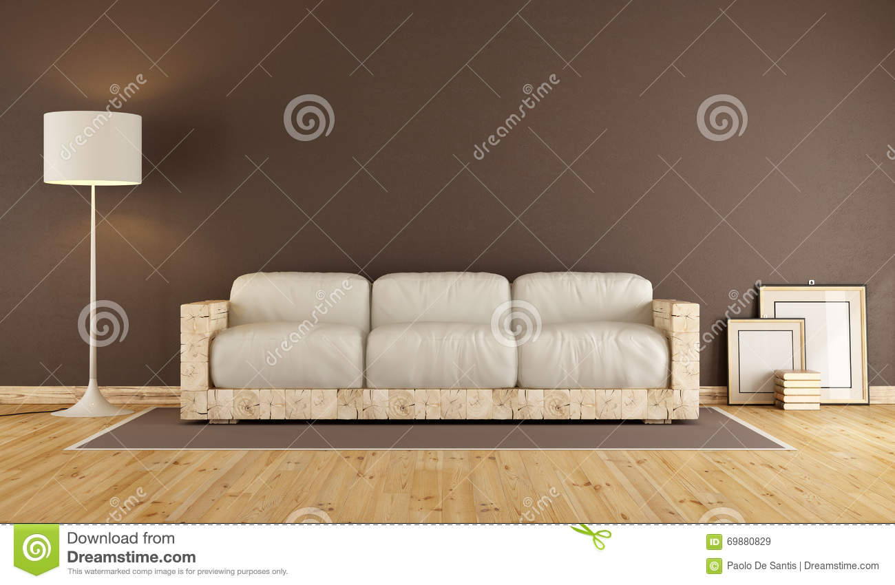 Houten Design Bank.Living Room With Wooden Sofa Stock Illustration Illustration Of