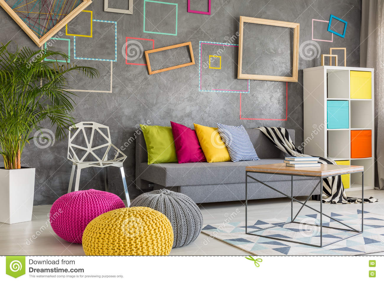 Living Room With Wool Poufs Stock Photo - Image: 79161215