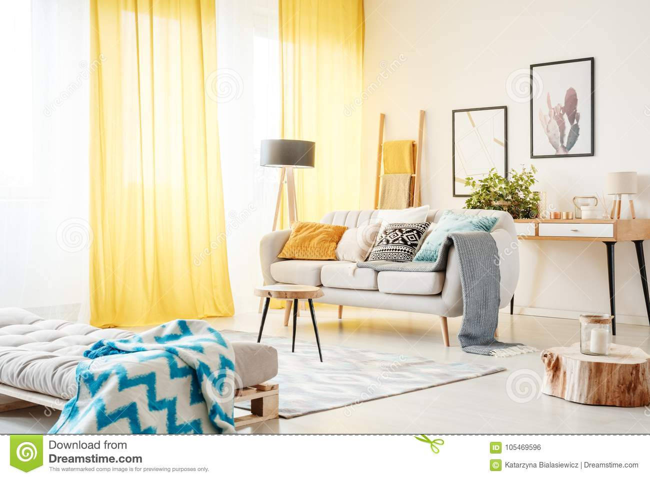 Living Room With Yellow Curtains Stock Photo - Image of interior ...
