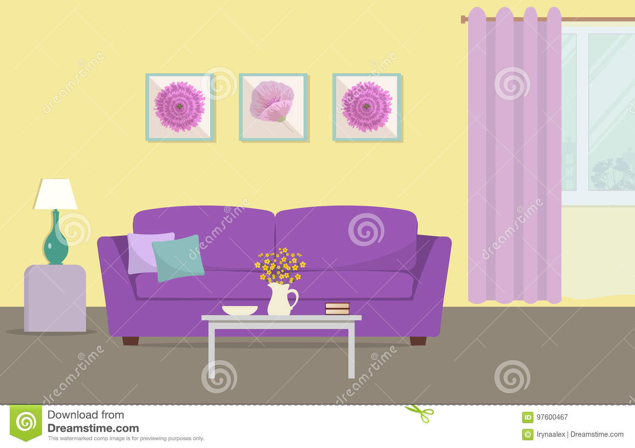 Living Room In A Yellow And Purple Colors Stock Vector ...