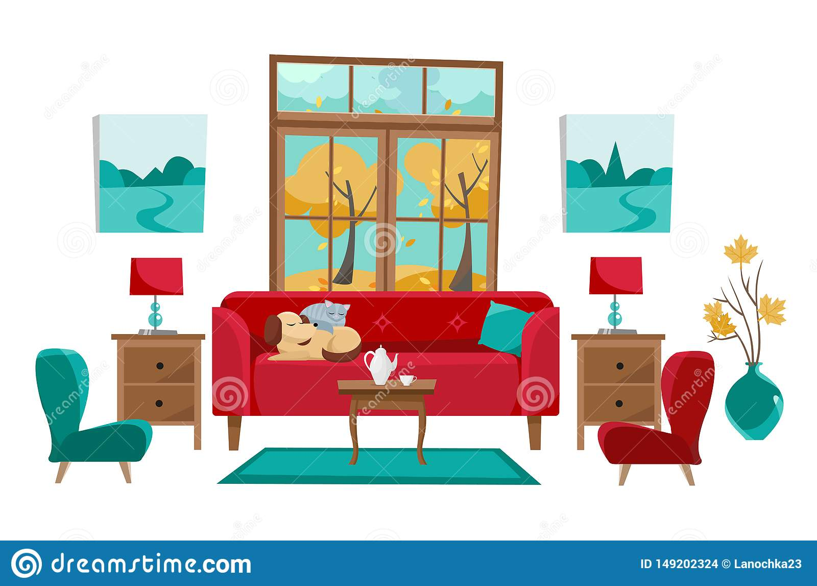 Prime Living Room In Yellow Red Turquoise Colors Red Sofa With Customarchery Wood Chair Design Ideas Customarcherynet