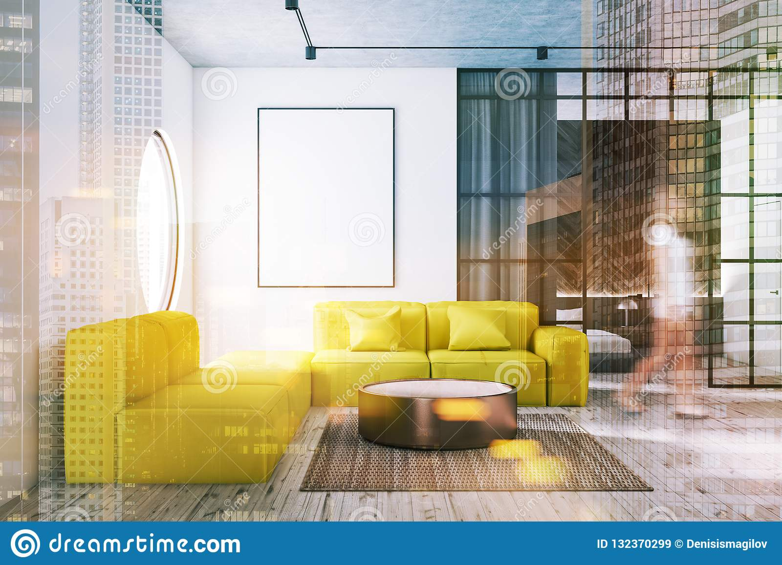 Living Room With Yellow Sofa And Poster Woman Stock Image Image