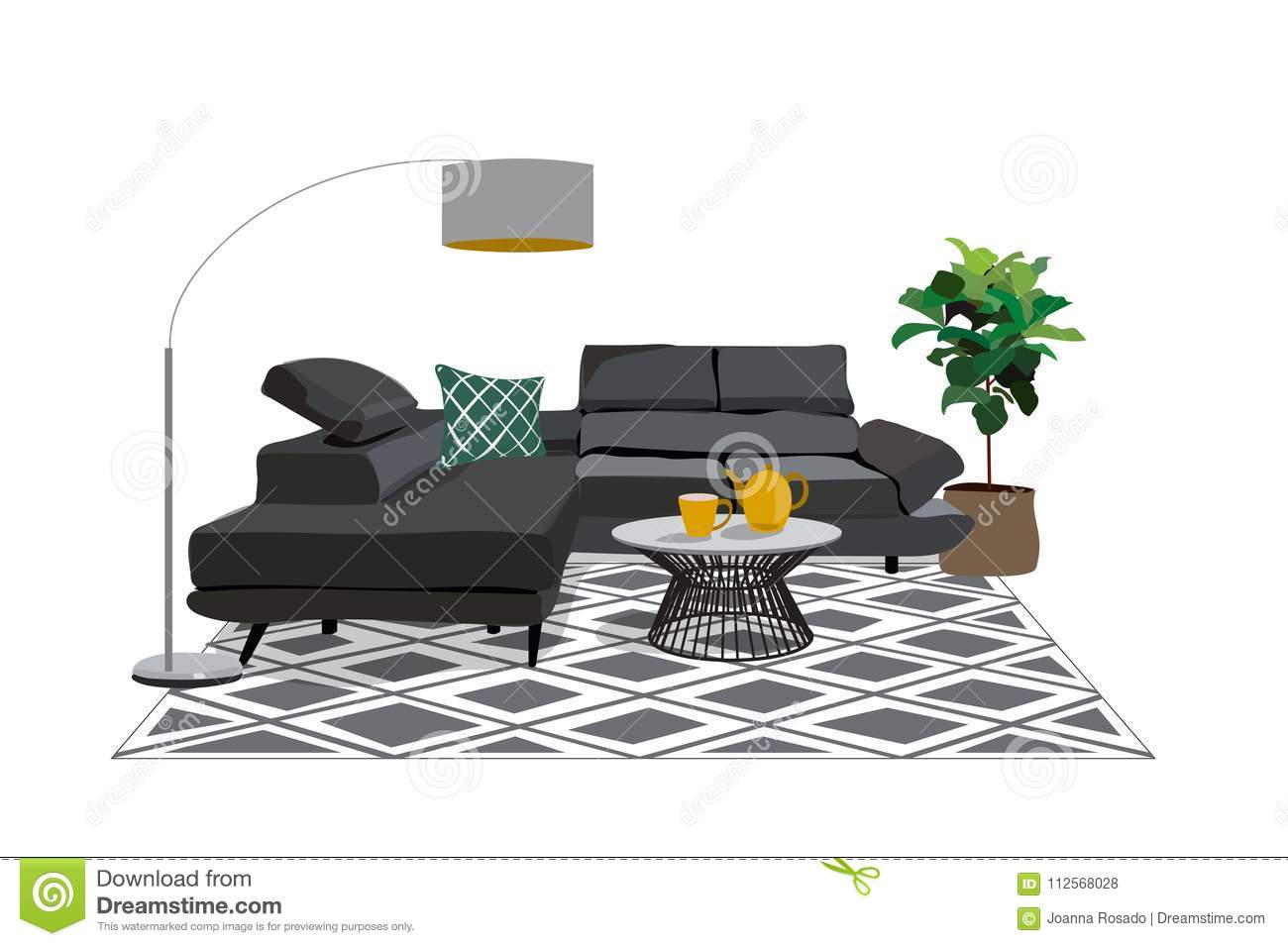 ed98ddd5b0efd Living room with a yellow sofa and purple pillows. There is a table with  yellow tulips on a window background in the image. There is also a room  flower and ...