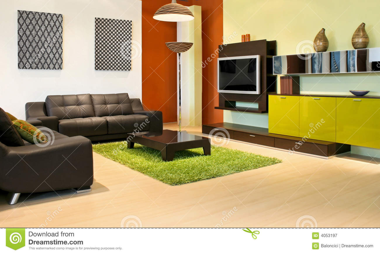 Modern Living Room With Green And Terracotta Colors