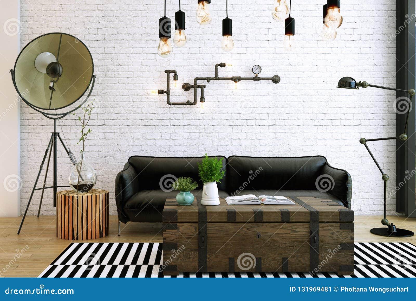 Livingroom design ,interior of industrial style