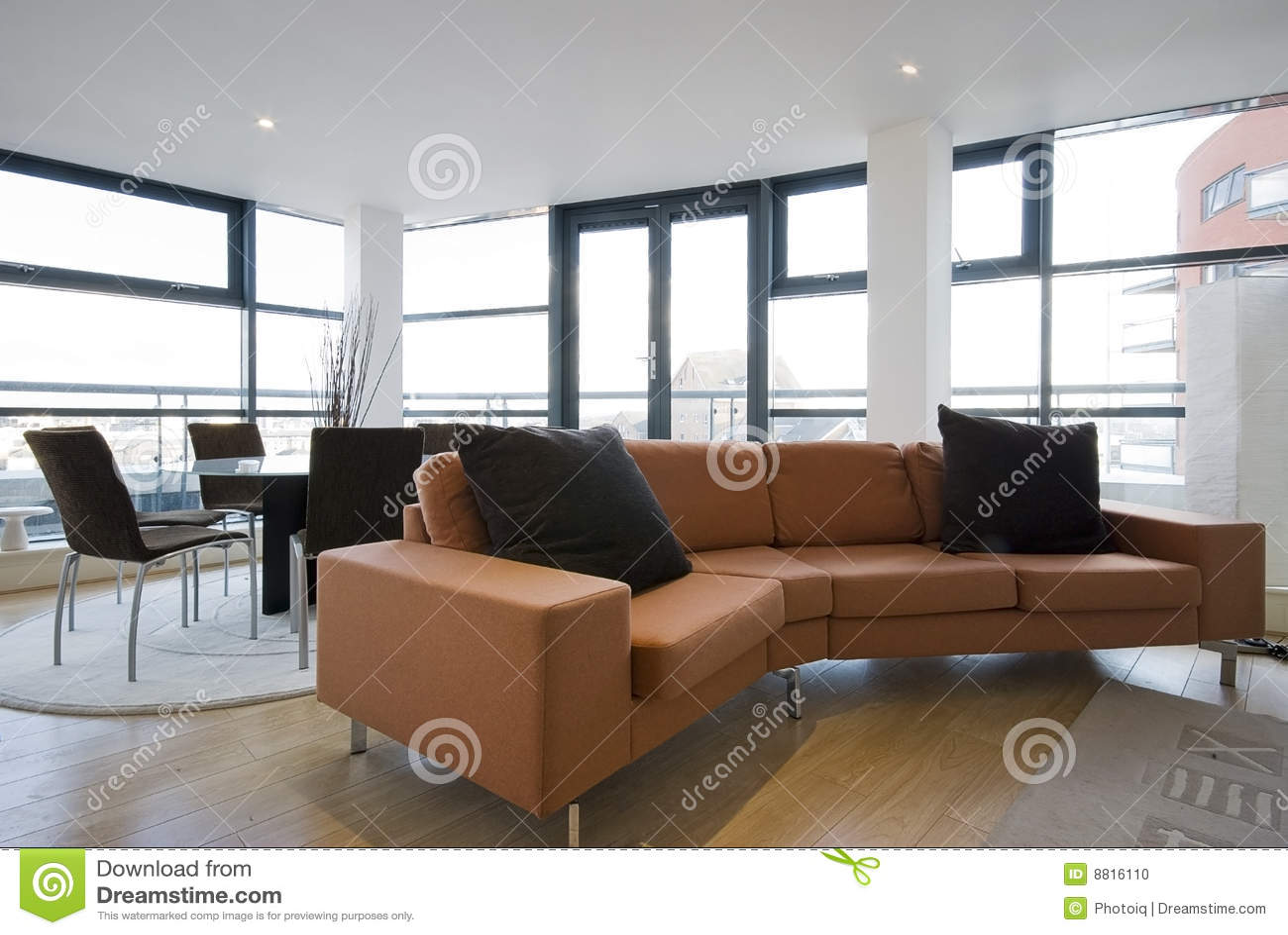 Design Bank Oranje.Livingroom With Large Orange Sofa Stock Photo Image Of Apartment