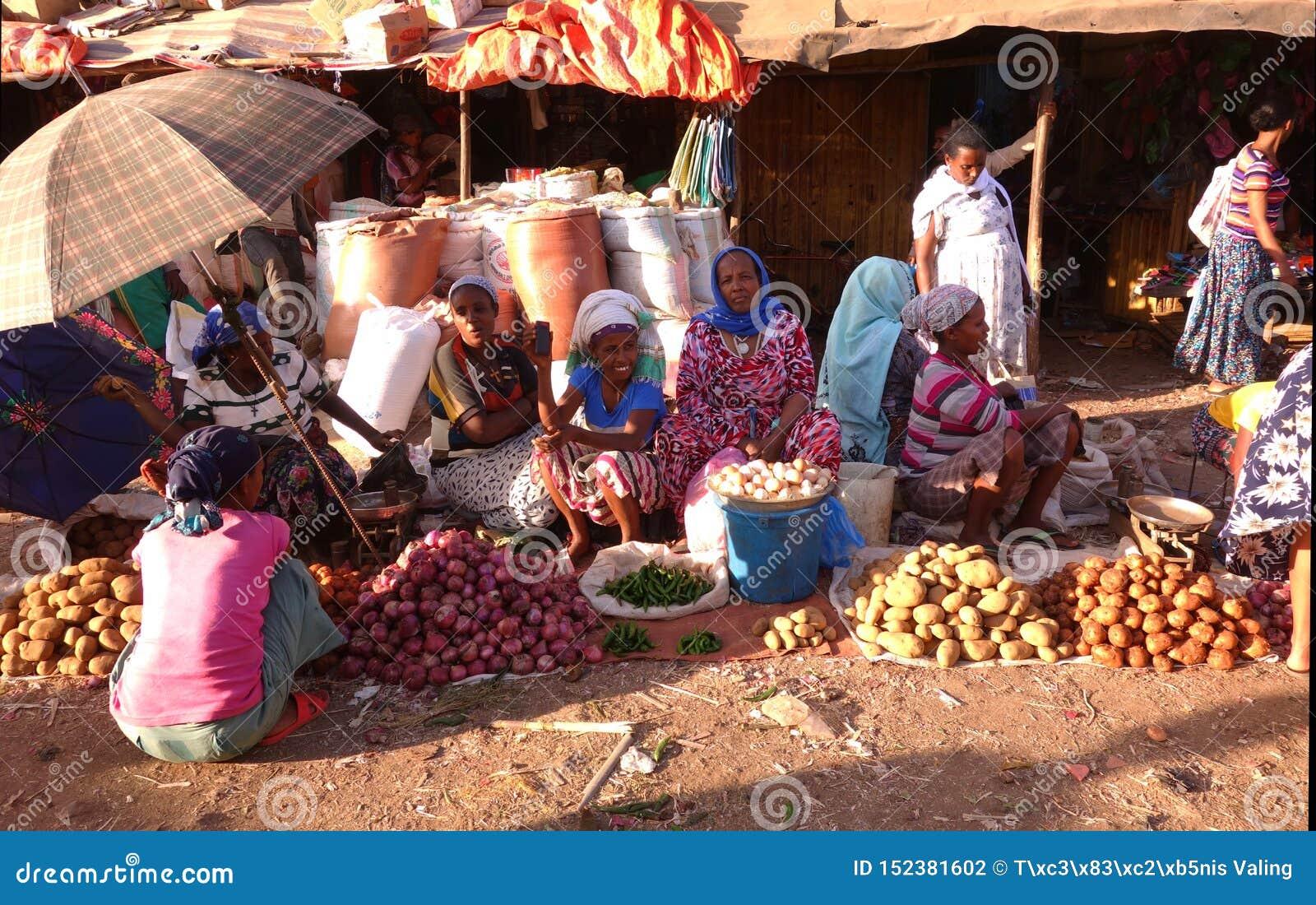 Livlig ethiopian marknad