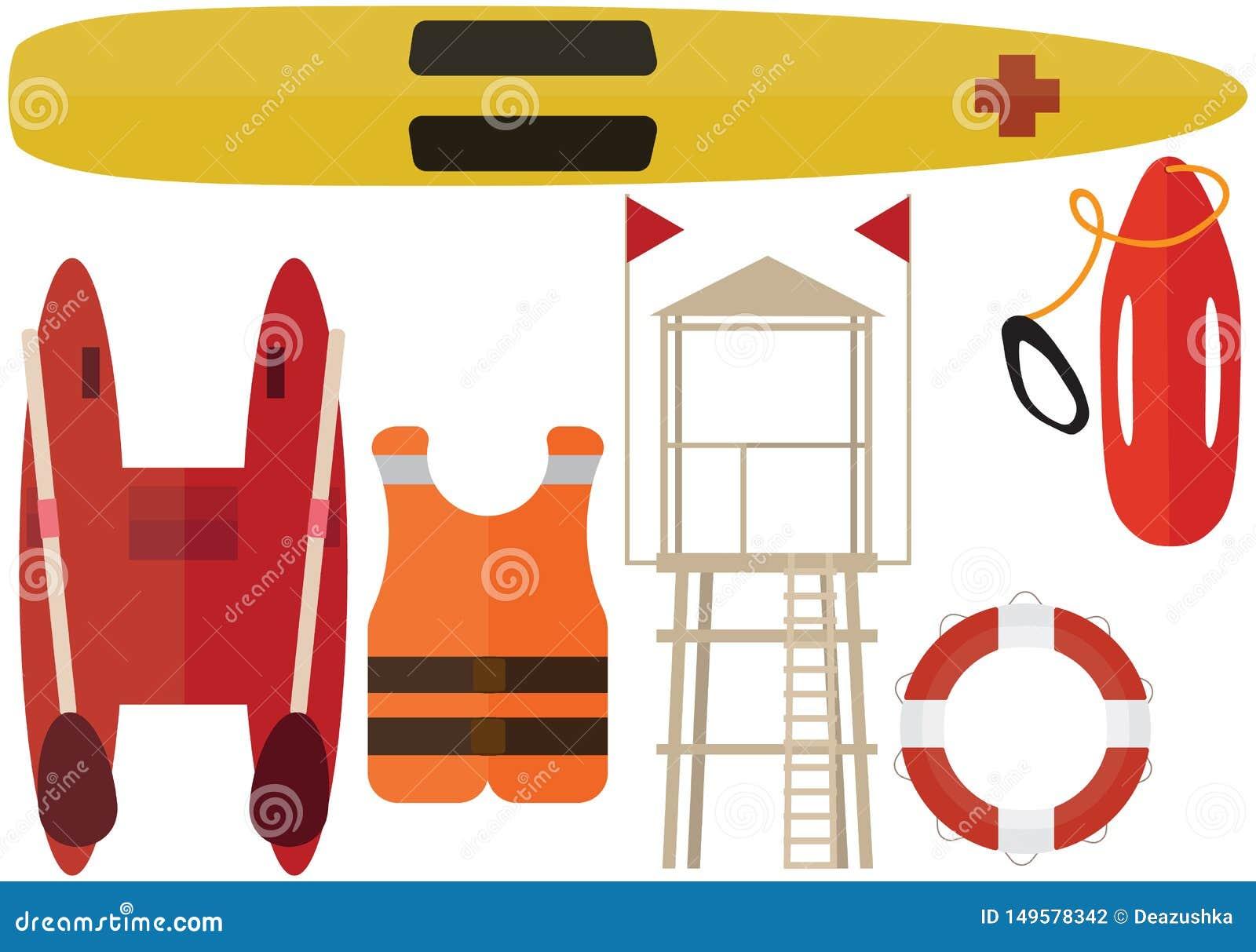 Livräddare för hjälp för station för fartyg för sommar för packe för färg för tecknad filmstrandräddare