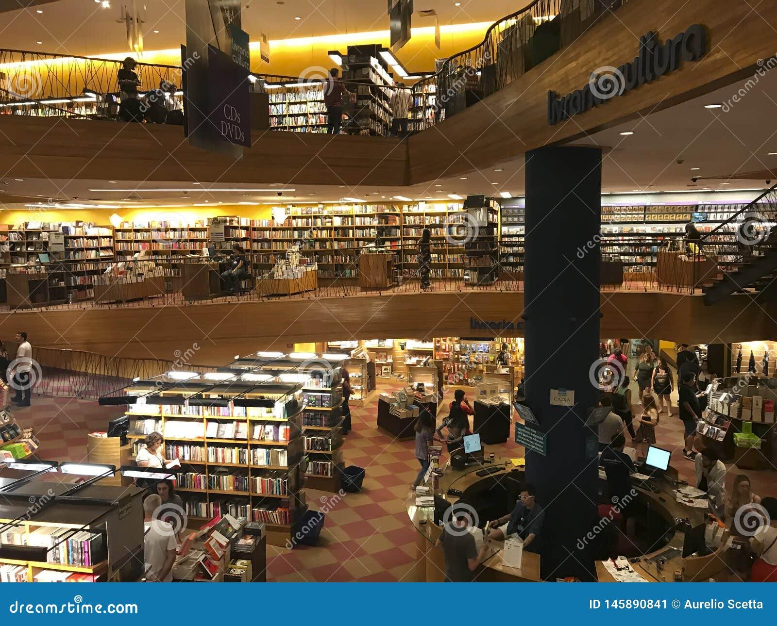 Livraria Cultura, traditional bookstore in Sao Paulo city