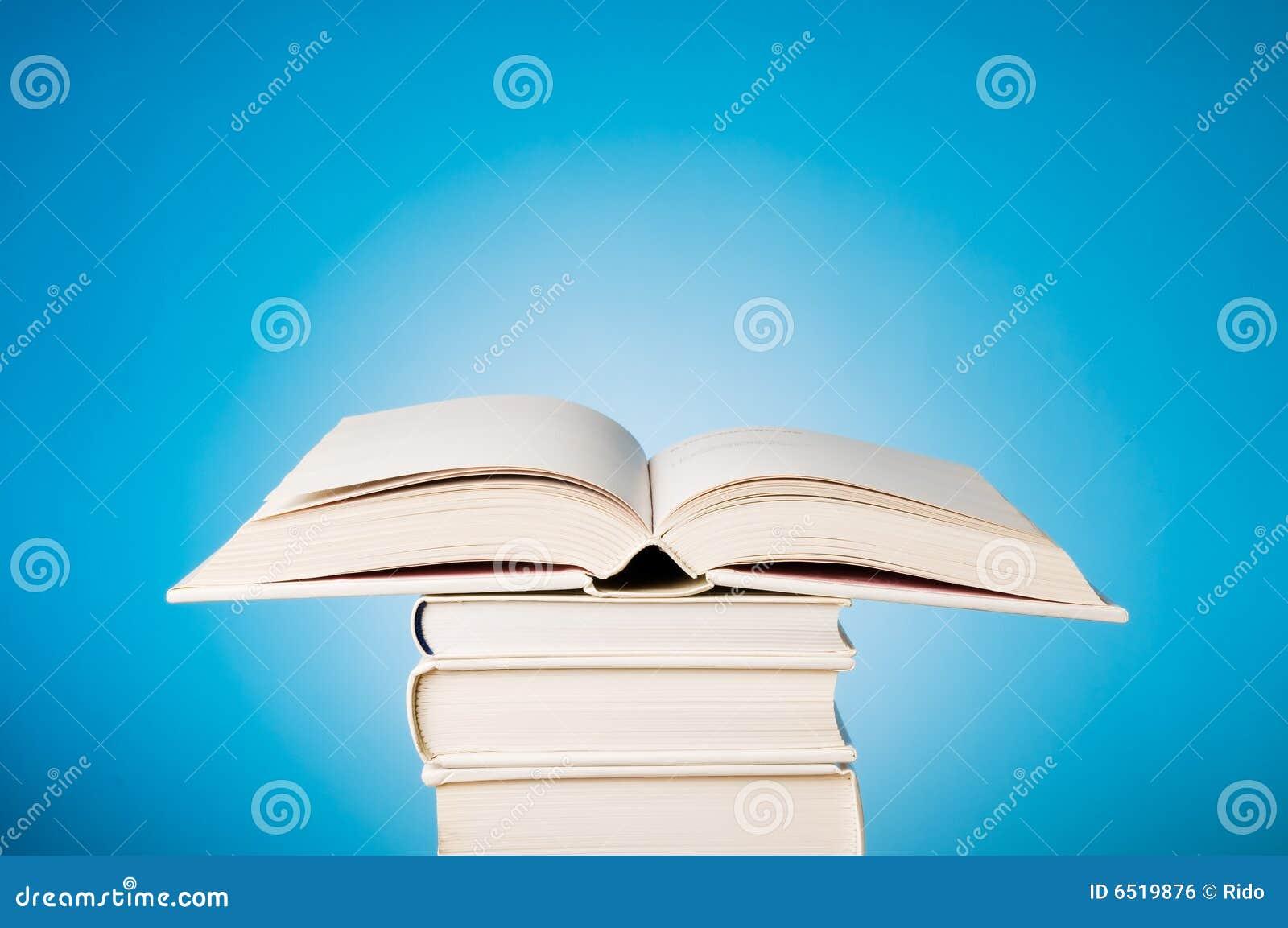 Livre Bleu Ouvert Photo Stock Image Du Personne Heap 6519876