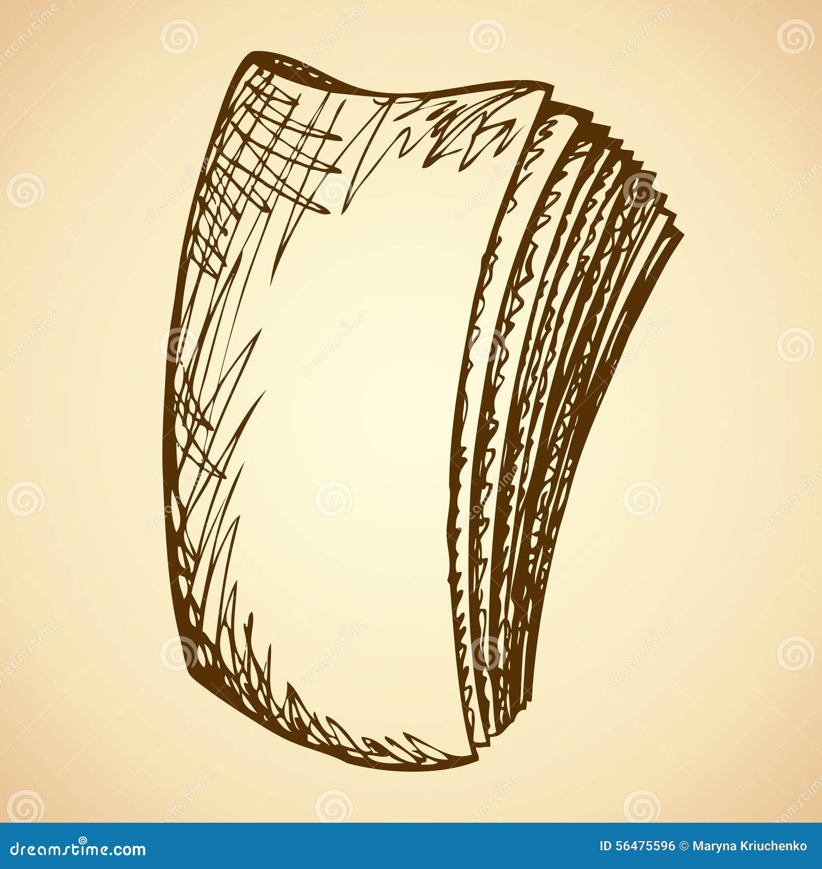 Livre broché déchiré en lambeaux Croquis de vecteur
