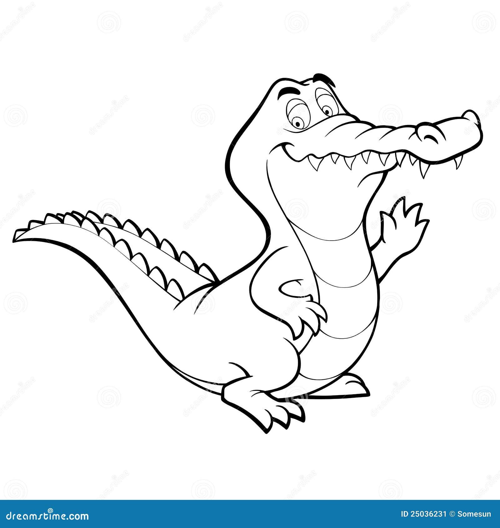 Livre crocodile de dessin anim de vecteur de coloration de sch ma - Dessin anime crocodile ...