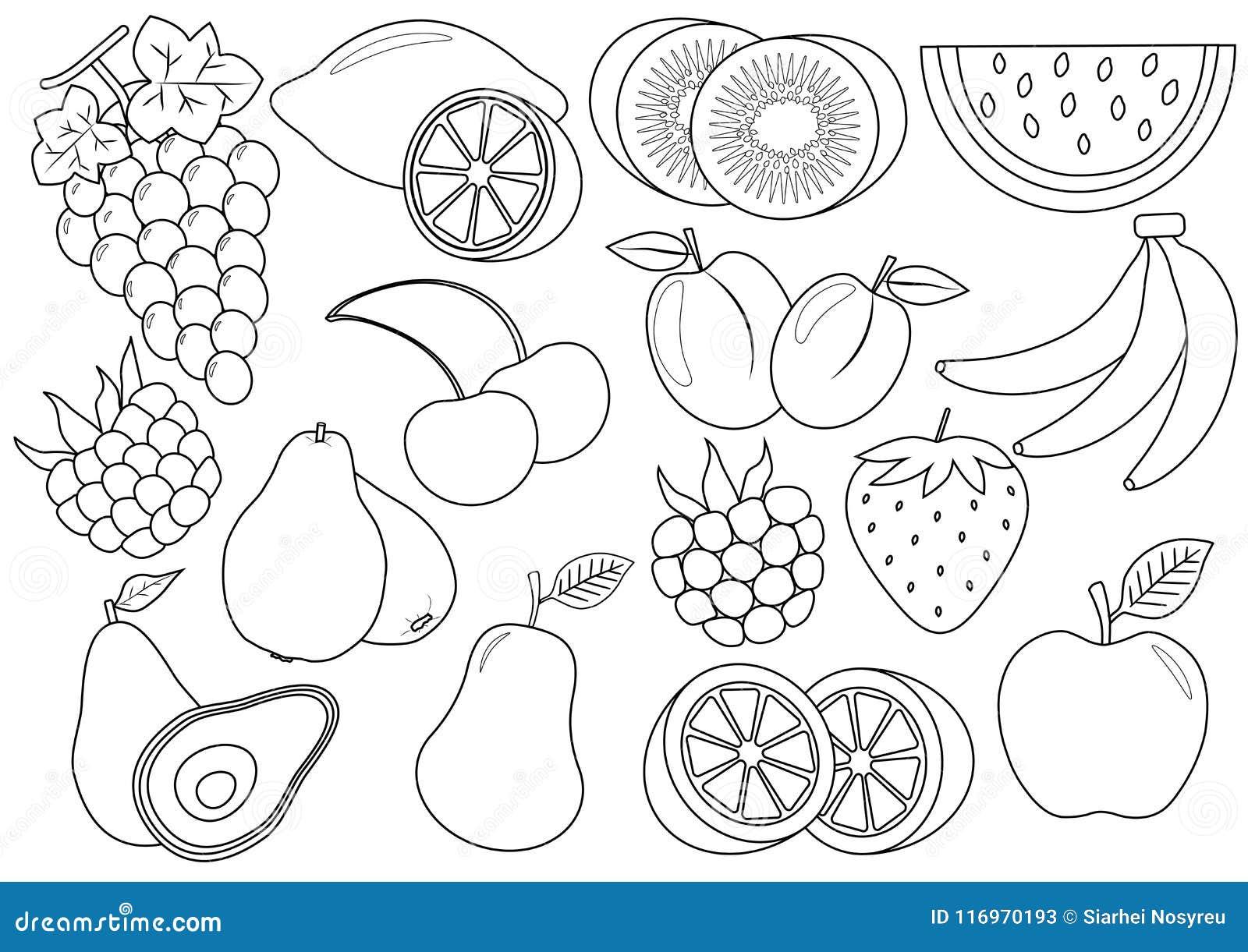 Livre de coloration Fruits et bande dessinée de baies graphismes Vecteur