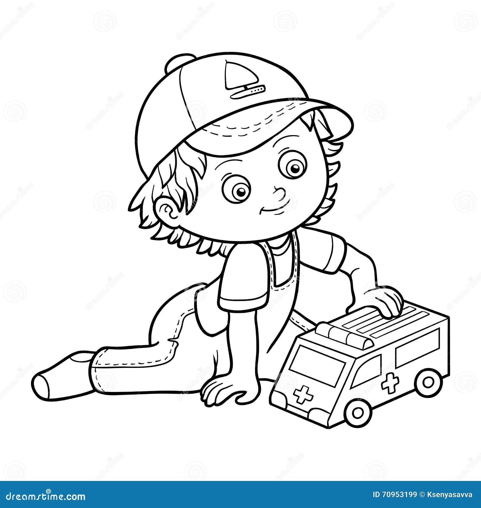 livre de coloration jeux de petit gar on avec la voiture d 39 ambulance illustration de vecteur. Black Bedroom Furniture Sets. Home Design Ideas