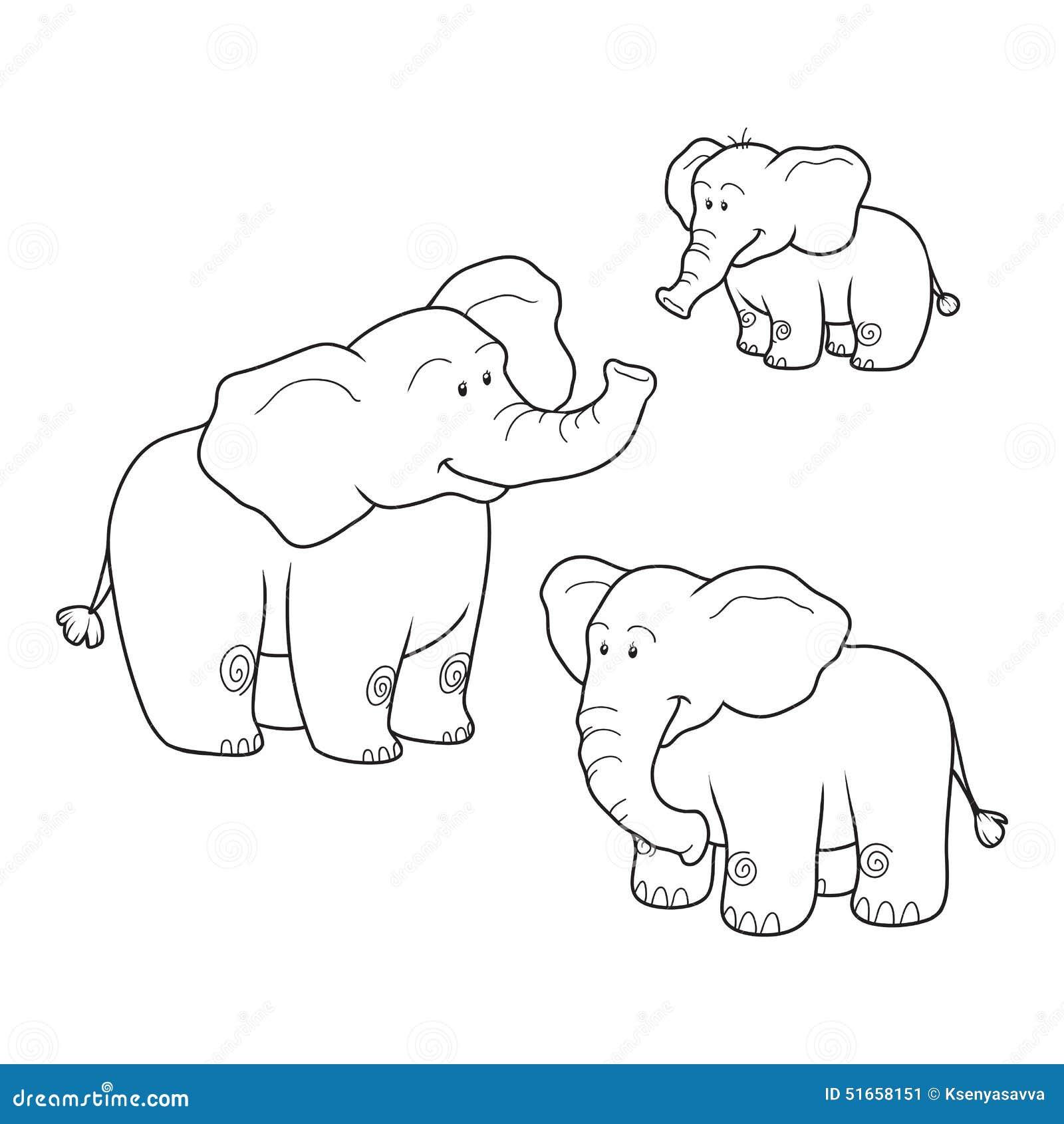 Coloriage Famille Elephant.Livre De Coloriage Elephants Illustration De Vecteur