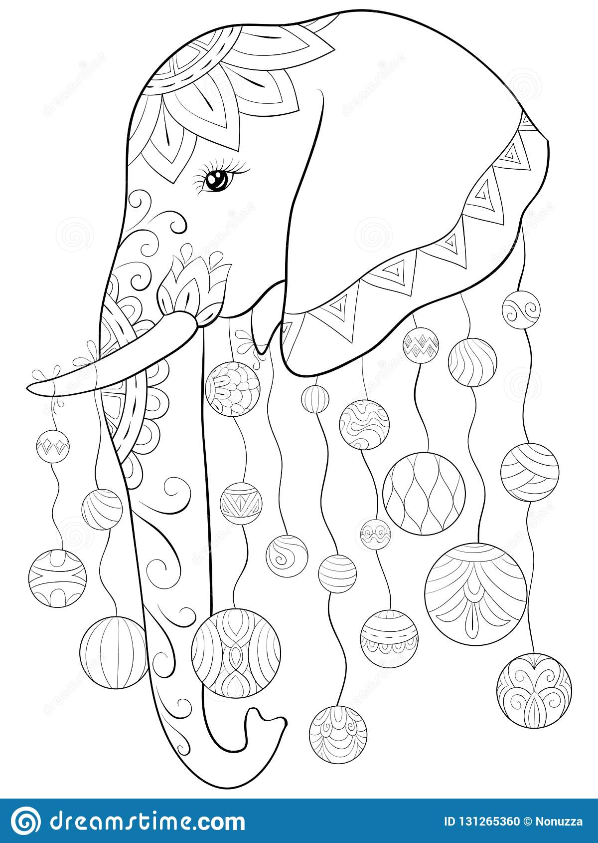 Coloriage Elephant Pour Adulte.Livre De Coloriage Adulte Page Une Image Mignonne D Elephant Pour L