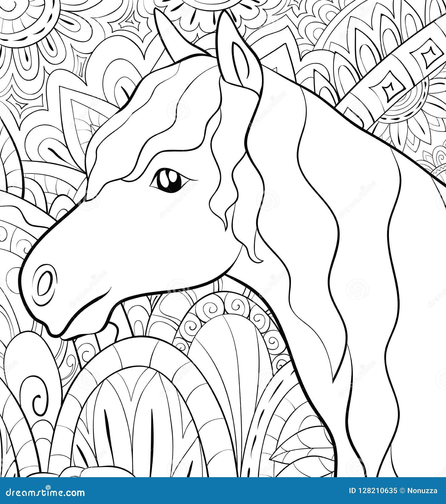 Coloriage Cheval Zen.Livre De Coloriage Adulte Paginent Un Cheval Mignon Image