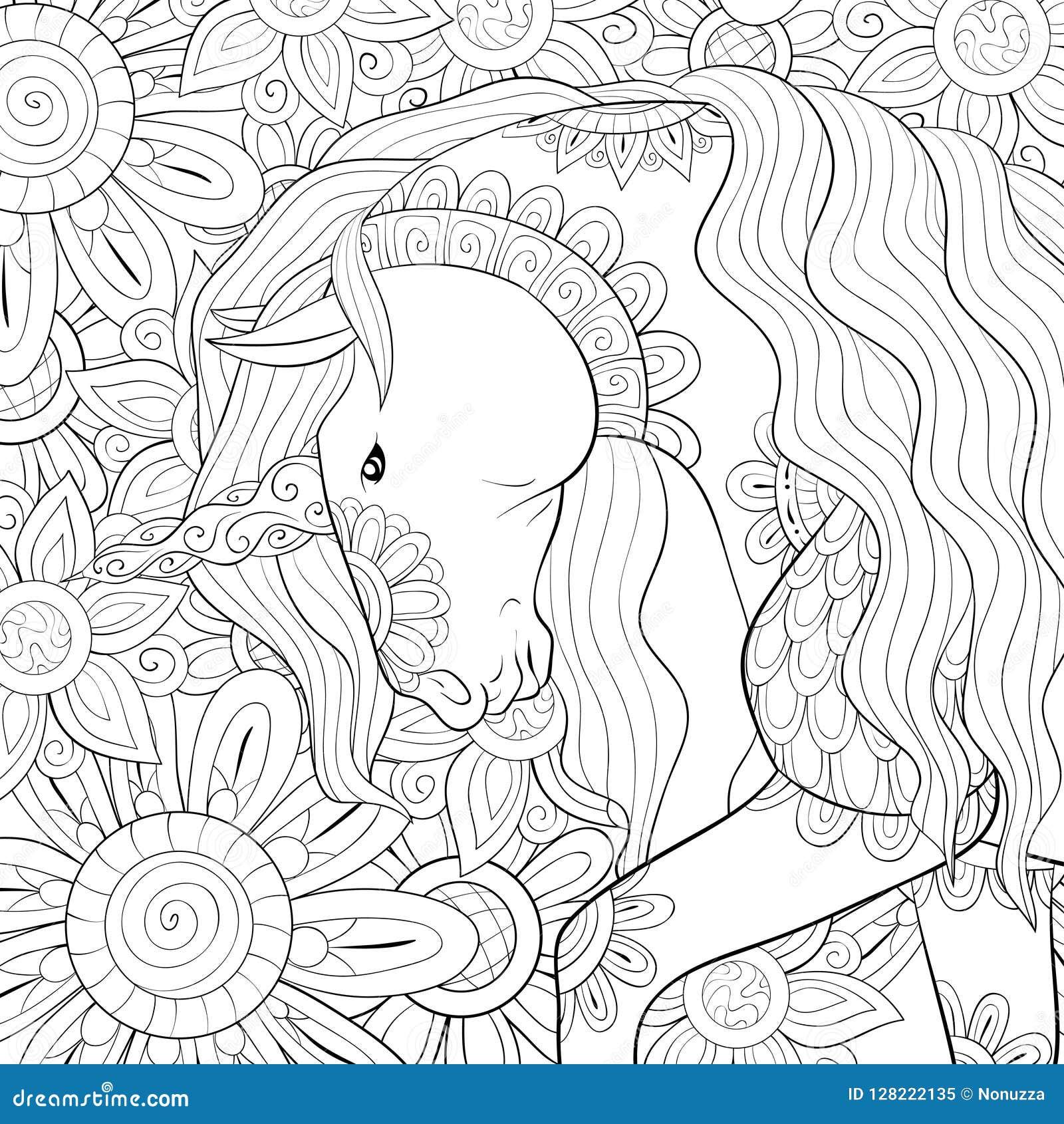 Coloriage Adulte Licorne.Livre De Coloriage Adulte Paginent Une Licorne Sur Le Fond Image