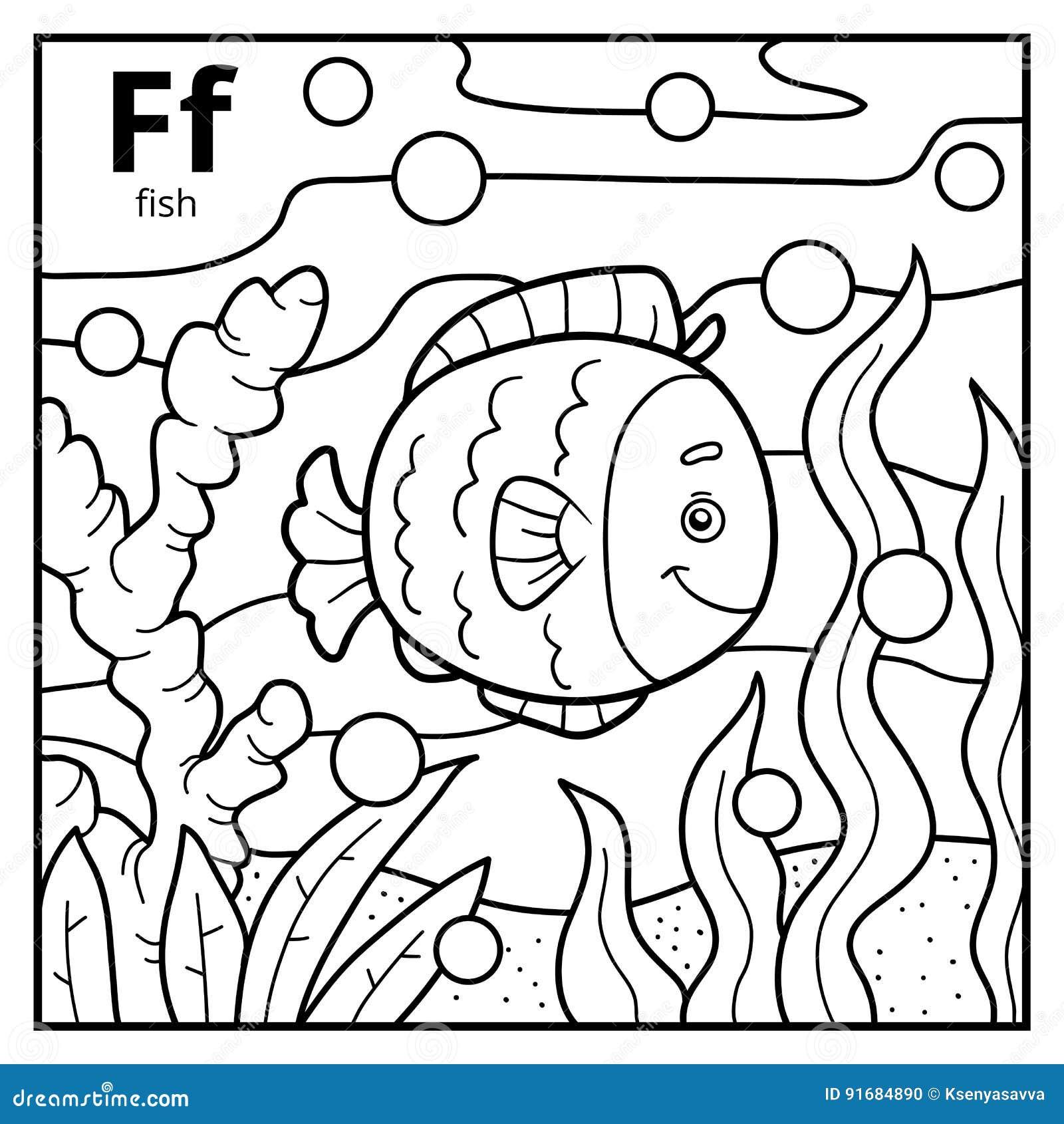 Livre De Coloriage Alphabet Sans Couleur Lettre F Poisson Illustration De Vecteur Illustration Du Coloriage Lettre 91684890
