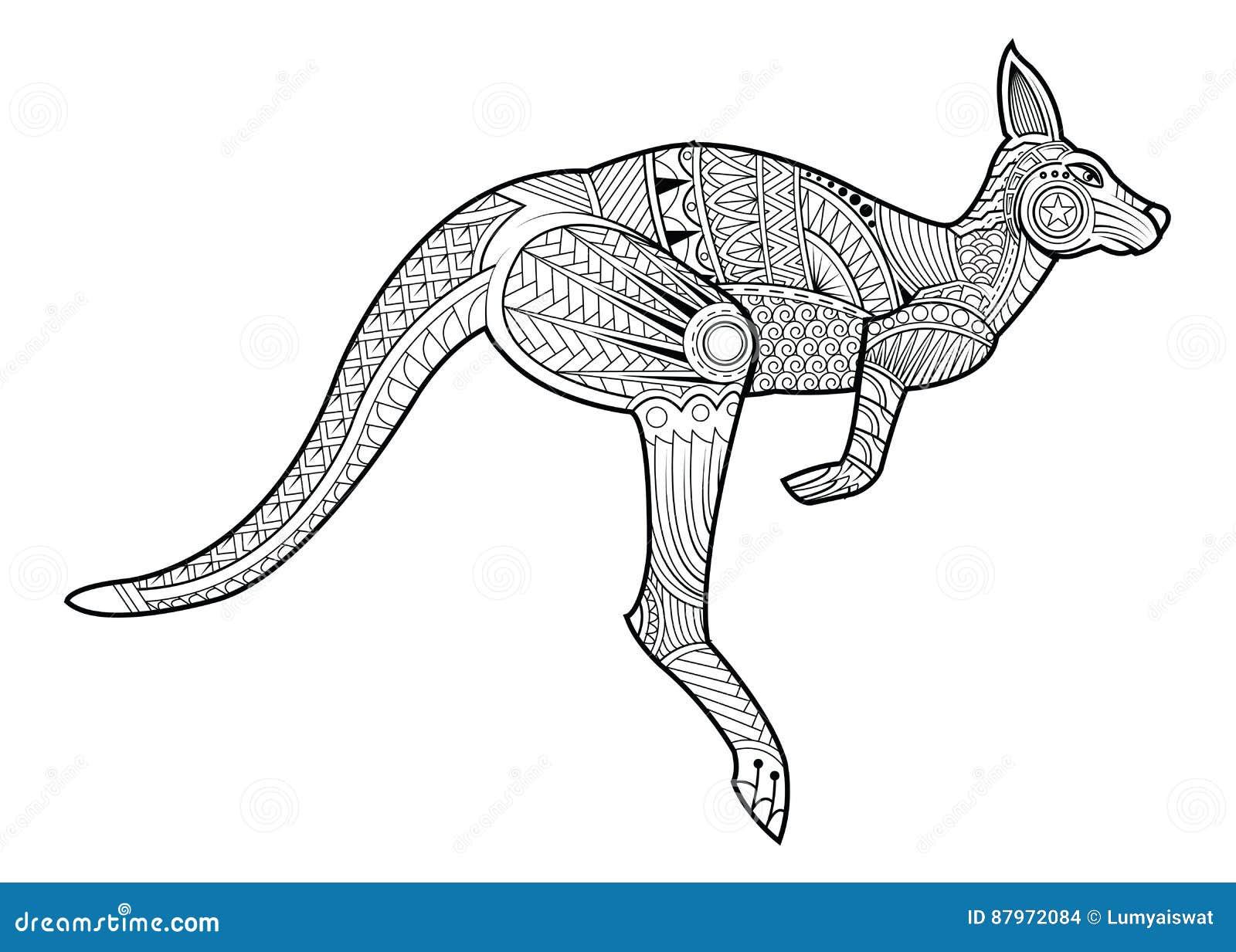 Livre de coloriage animal de kangourou pour l 39 illustration - Kangourou dessin ...