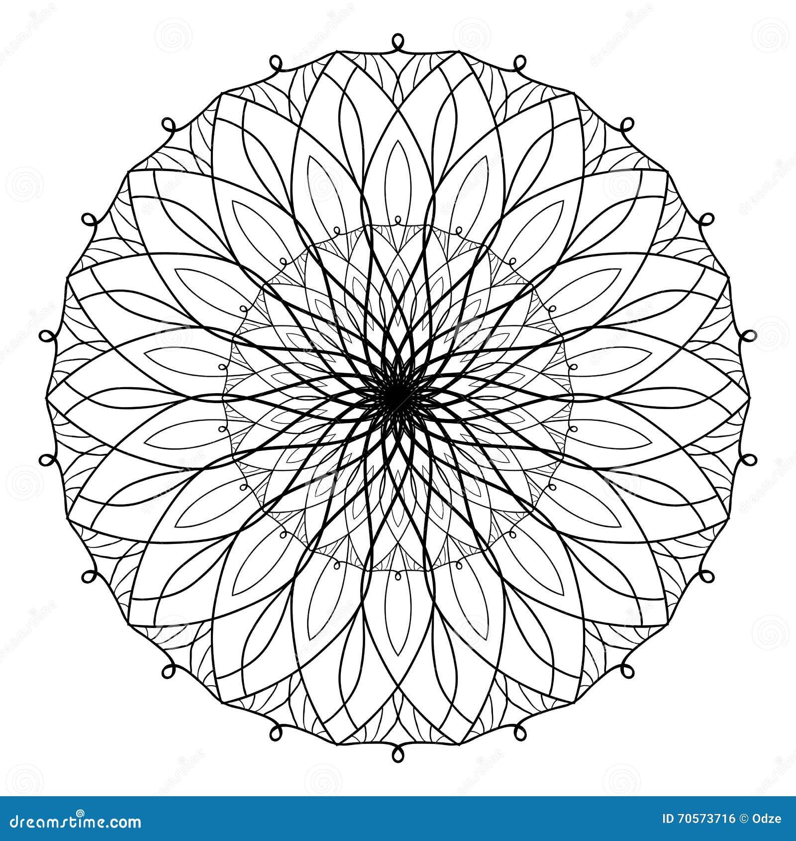 Livre de coloriage antistress de vecteur avec le mandala g om trique livre de coloriage pour des - Coloriage fleur geometrique ...