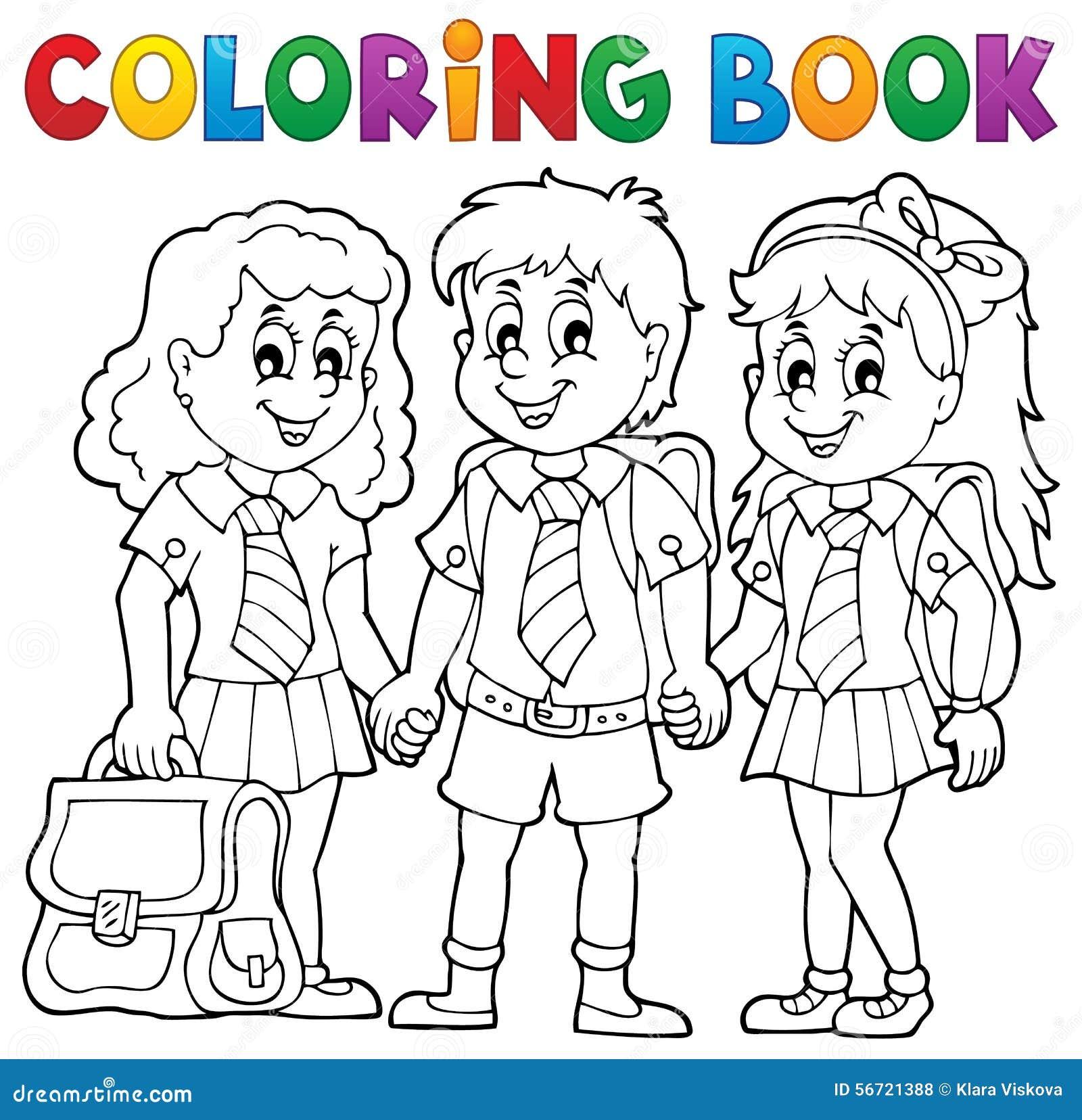 Livre De Coloriage Avec Des élèves D école Illustration De