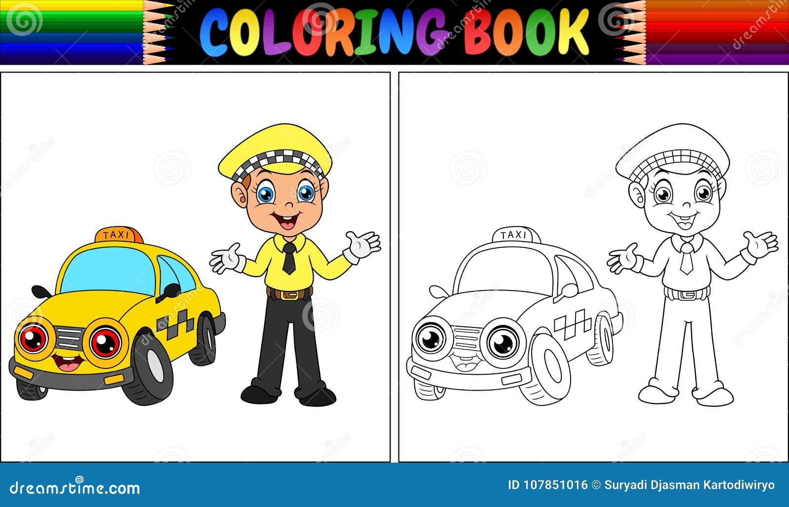 Livre De Coloriage Avec La Bande Dessinée De Chauffeur De Taxi ...