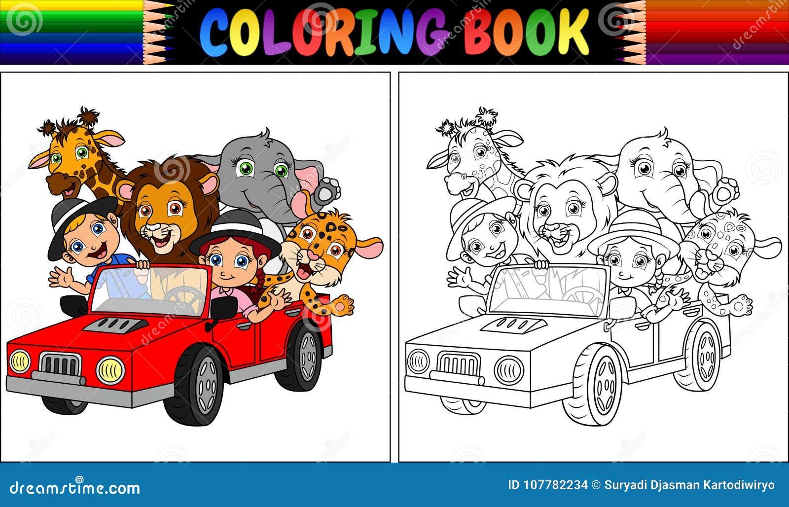 Coloriage Voiture Fille.Livre De Coloriage Avec La Bande Dessinee D Enfant Et Animale Drole