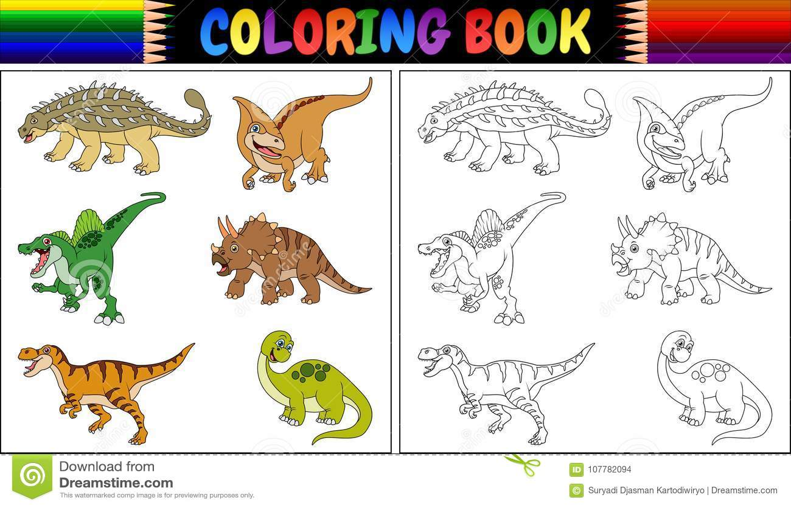Livre de coloriage avec la collection de bande dessin e de dinosaure illustration de vecteur - Modele dessin dinosaure ...