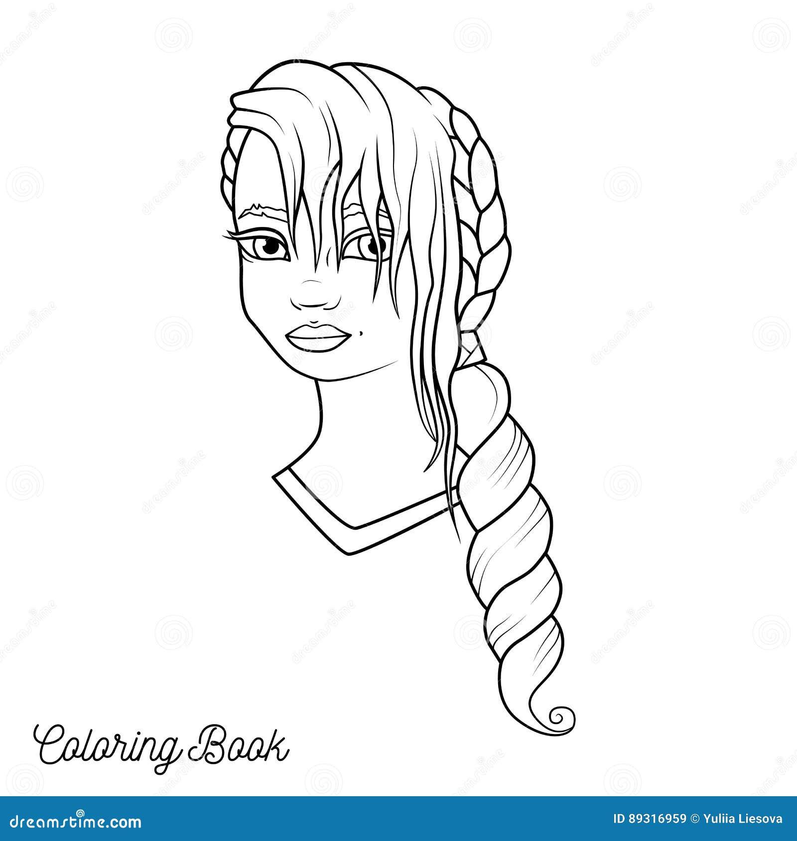 Coloriage Fille Cheveux Longs.Livre De Coloriage Avec La Fille De Bande Dessinee Avec La
