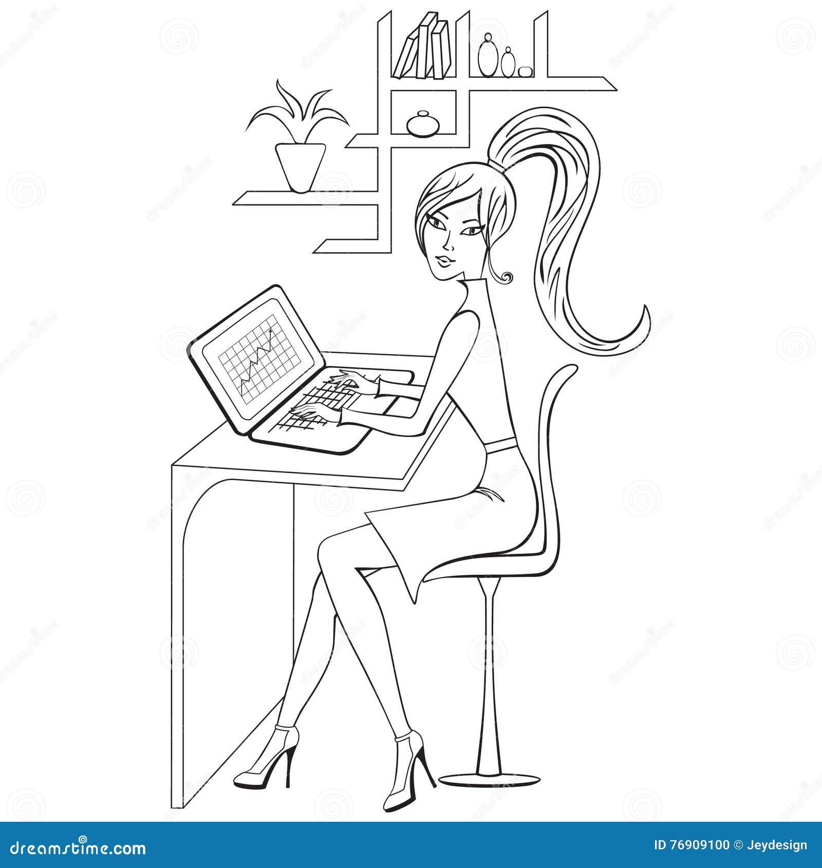 Livre De Coloriage Avec La Fille Travaillant Sur Son Ordinateur Portable Decoupe Illustration De Vecteur Illustration Du Coloriage Livre 76909100