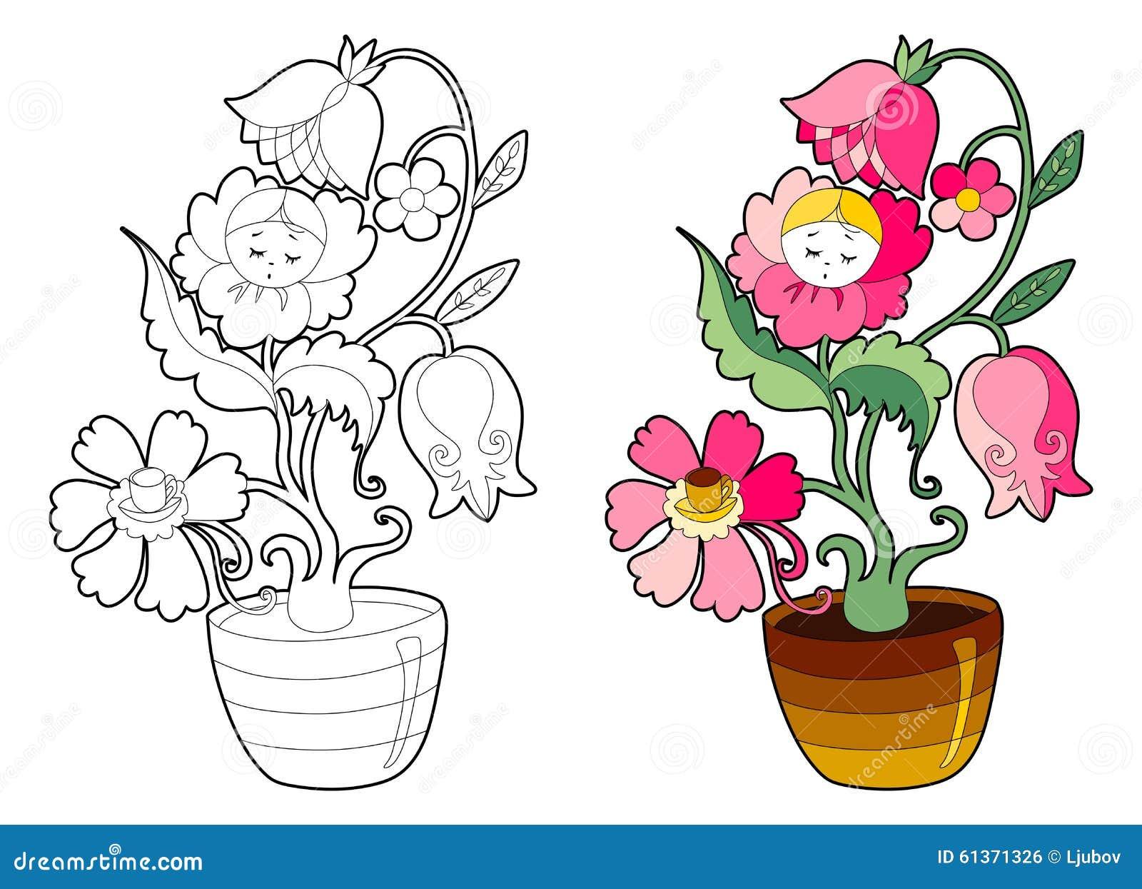 Livre De Coloriage Avec La Fleur Féerique Illustration de Vecteur ...
