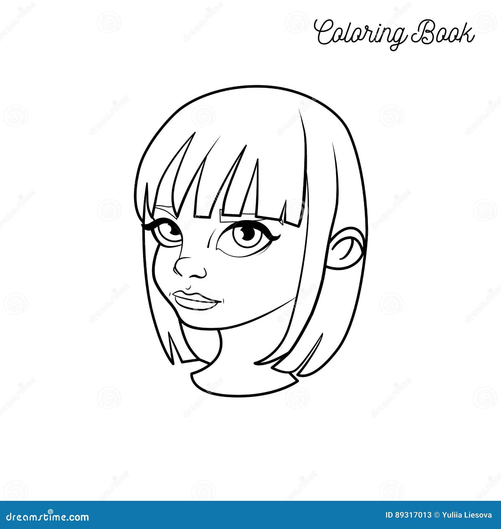 livre de coloriage avec la t u00eate d u0026 39 une fille avec les cheveux courts illustration de vecteur