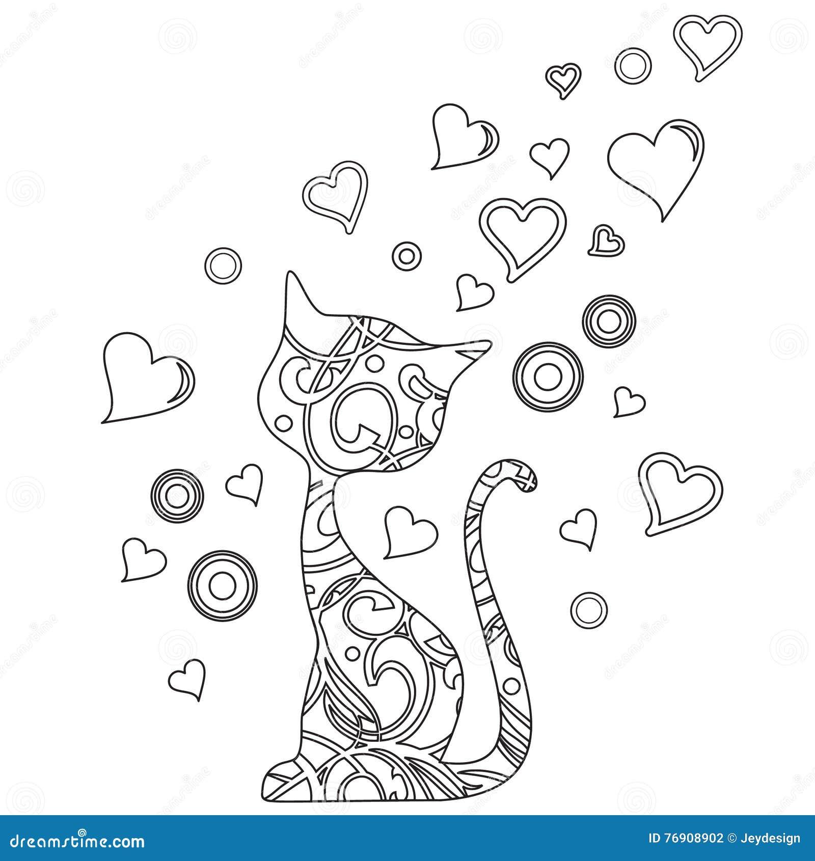 Livre de coloriage avec le chat et les coeurs