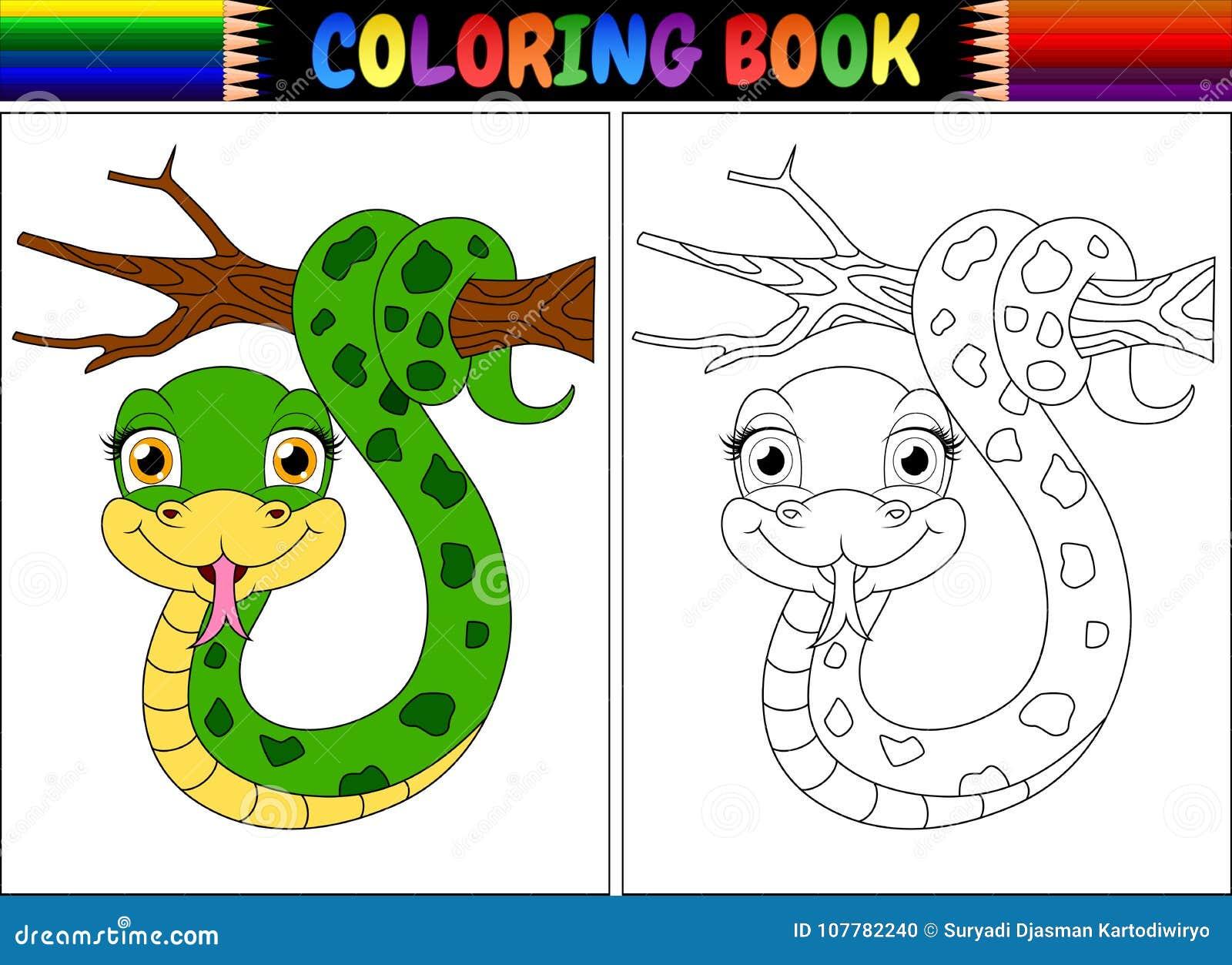 Coloriage Arbre Branche.Livre De Coloriage Avec Le Serpent Mignon Sur La Branche D Arbre