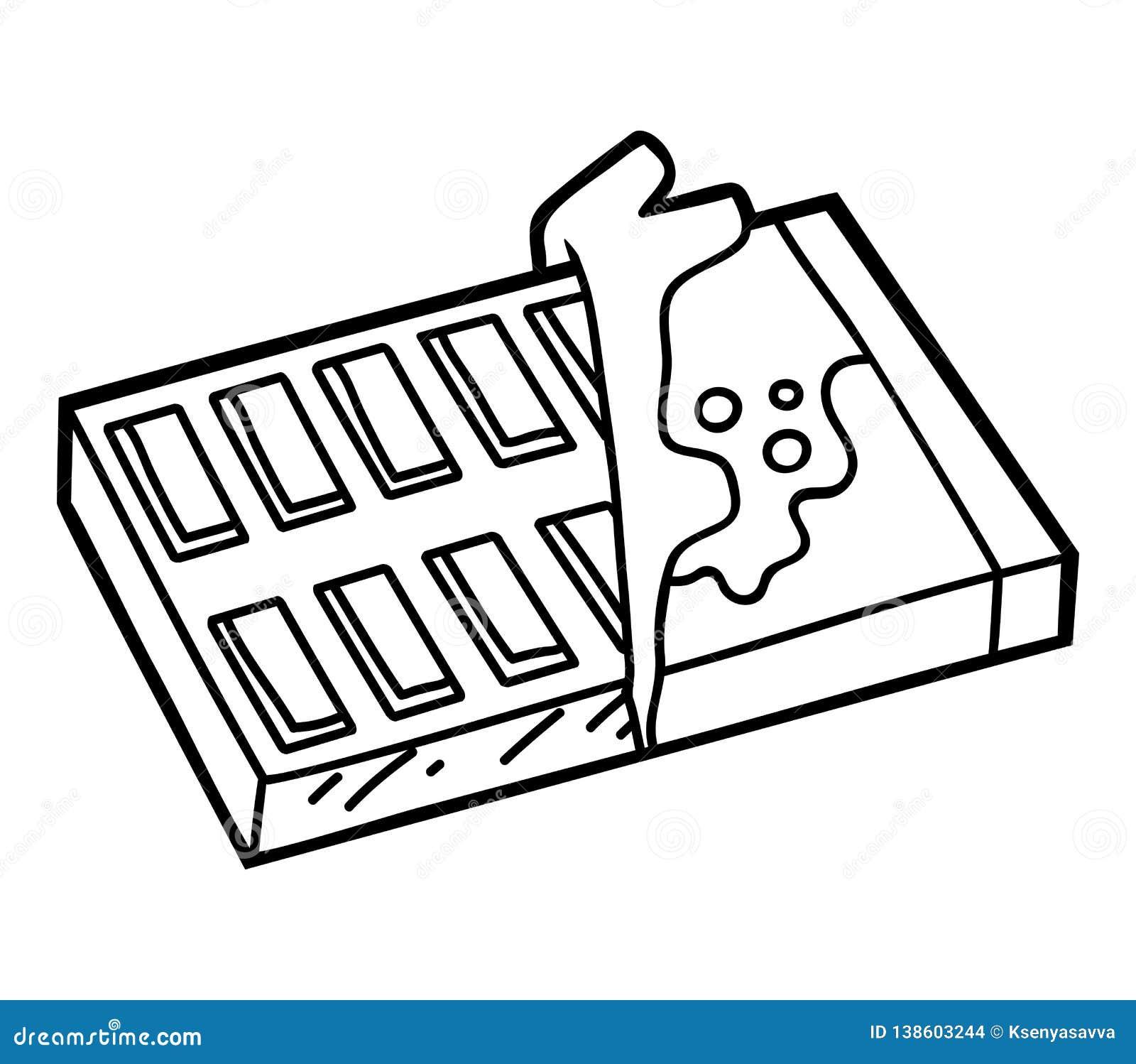 Livre De Coloriage Barre De Chocolat Illustration De Vecteur