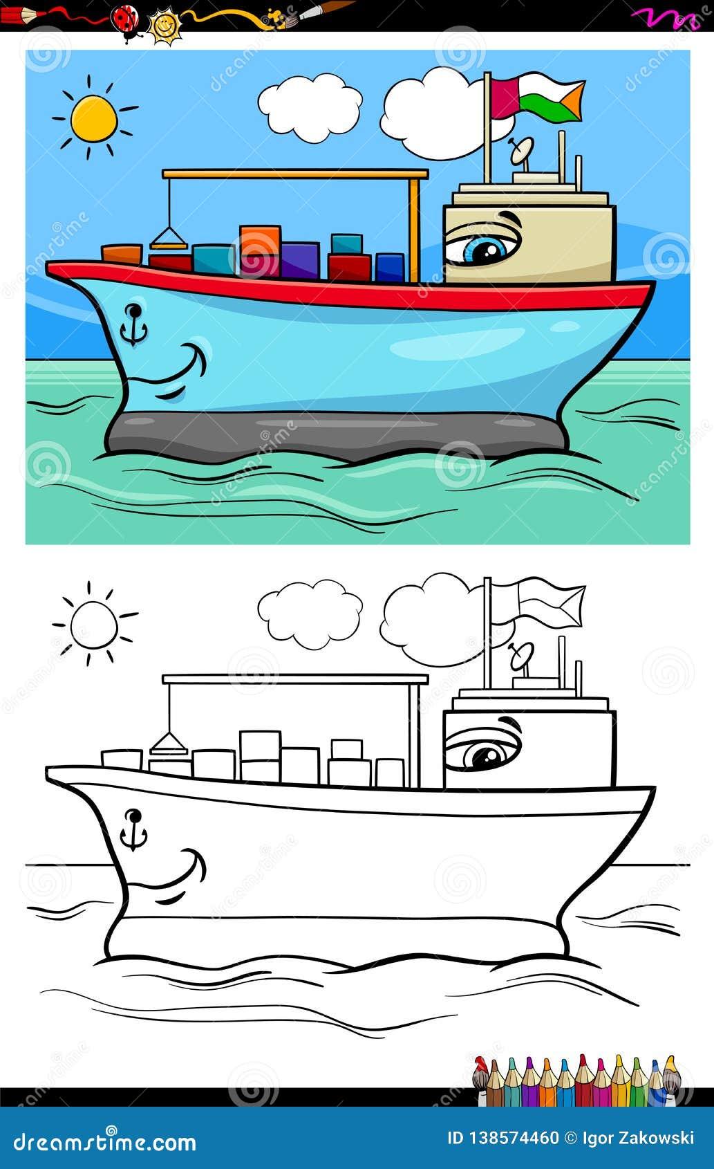 Coloriage Bateau Coule.Livre De Coloriage De Caractere De Navire Porte Conteneurs