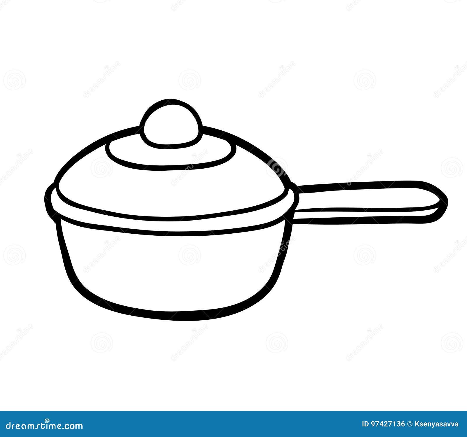 Livre de coloriage casserole illustration de vecteur - Casserole dessin ...