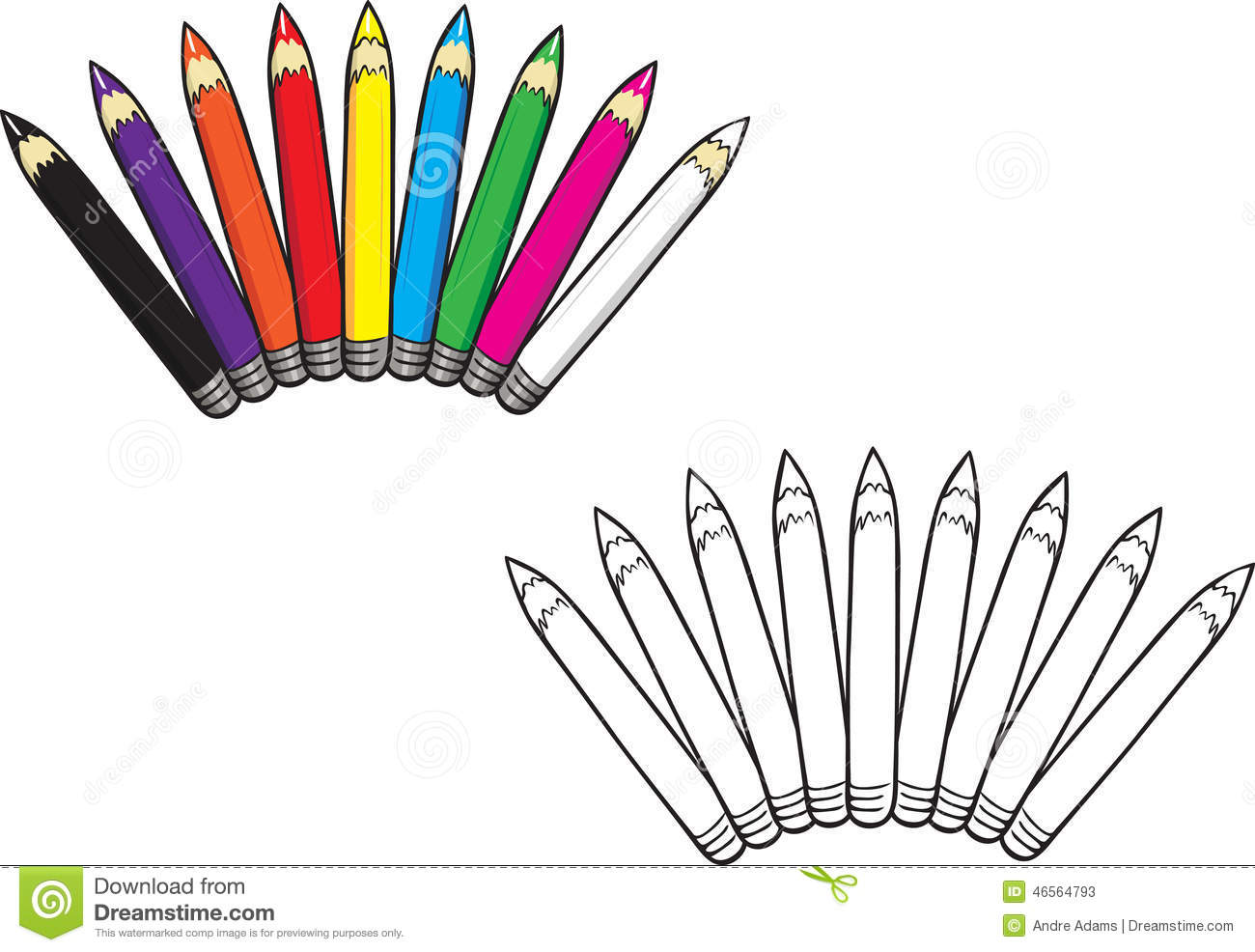 Livre De Coloriage Coloré De Collection De Crayons Illustration