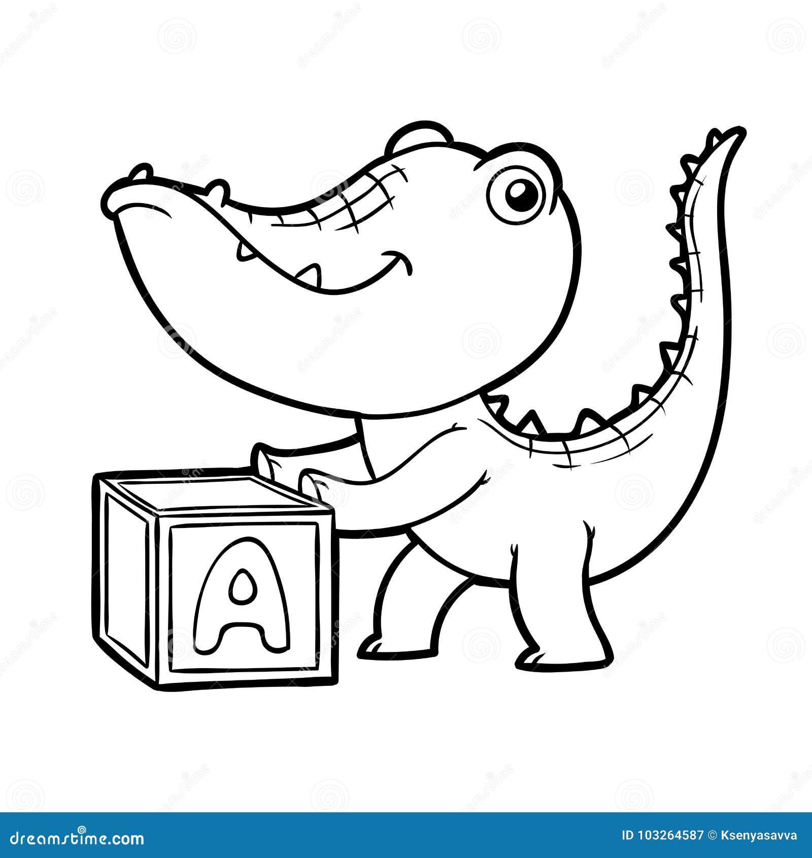 Livre De Coloriage Crocodile Et Cube Illustration De Vecteur